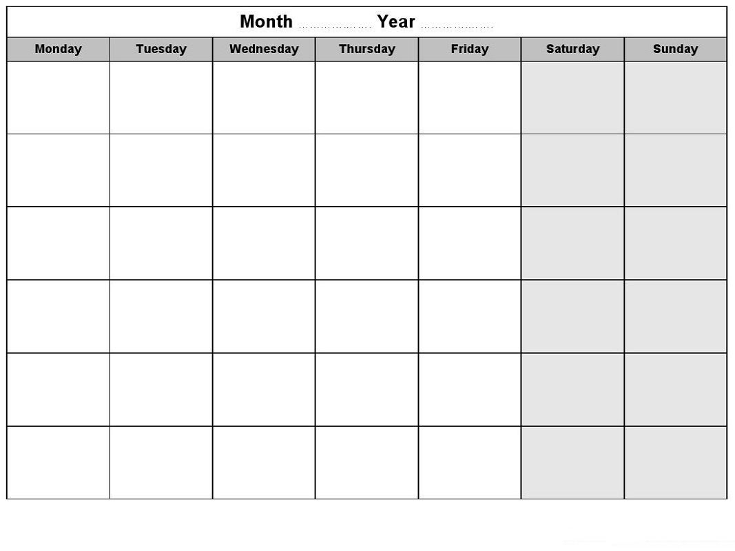 Catch Monthly Calendar Monday To Sunday