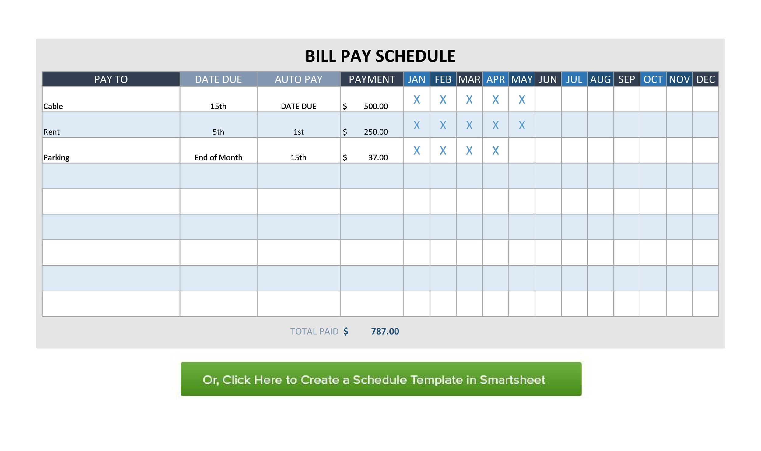 Catch Monthly Payment Schedule Printable