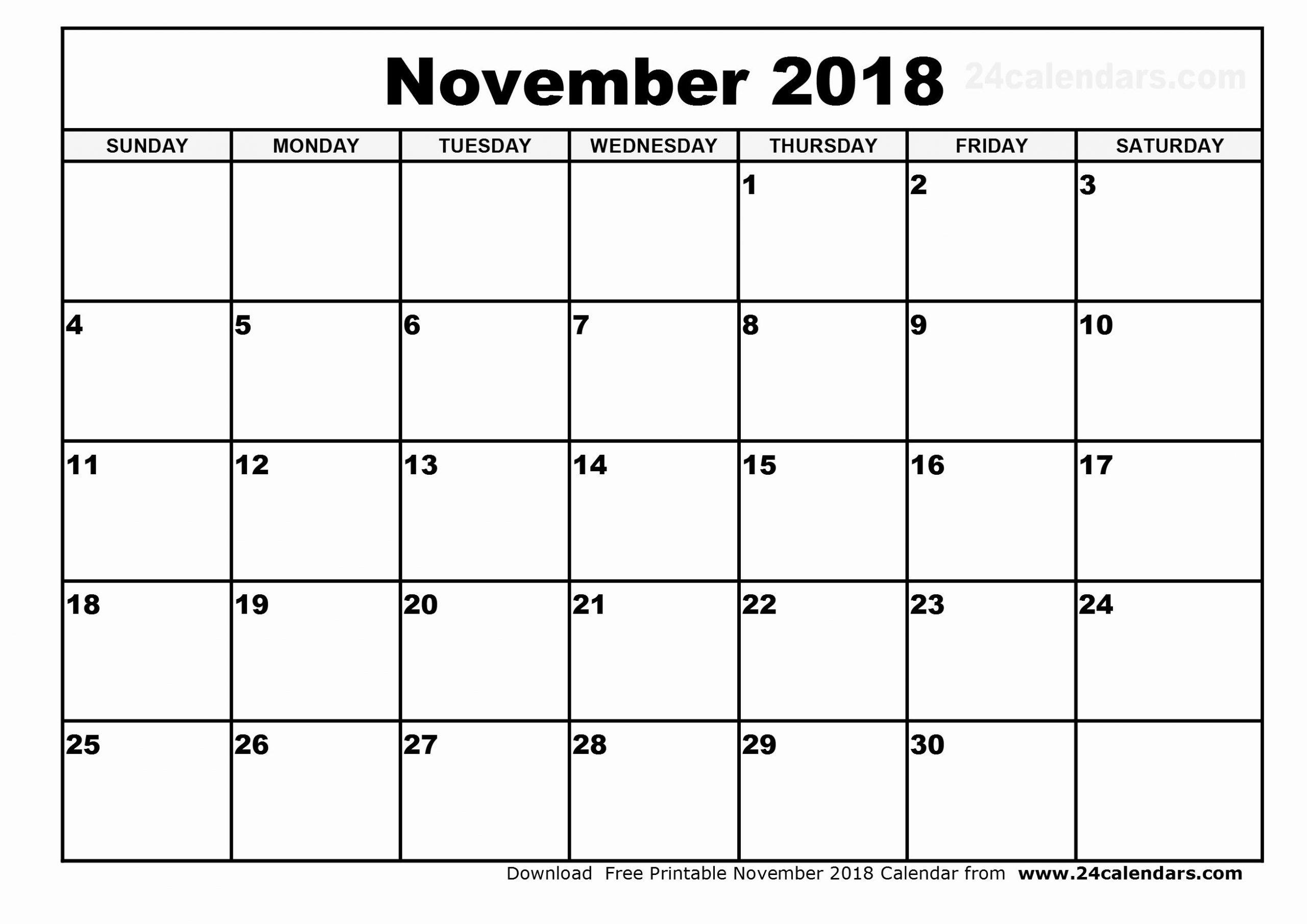 Catch November 2018 Calendar Printable Monthly