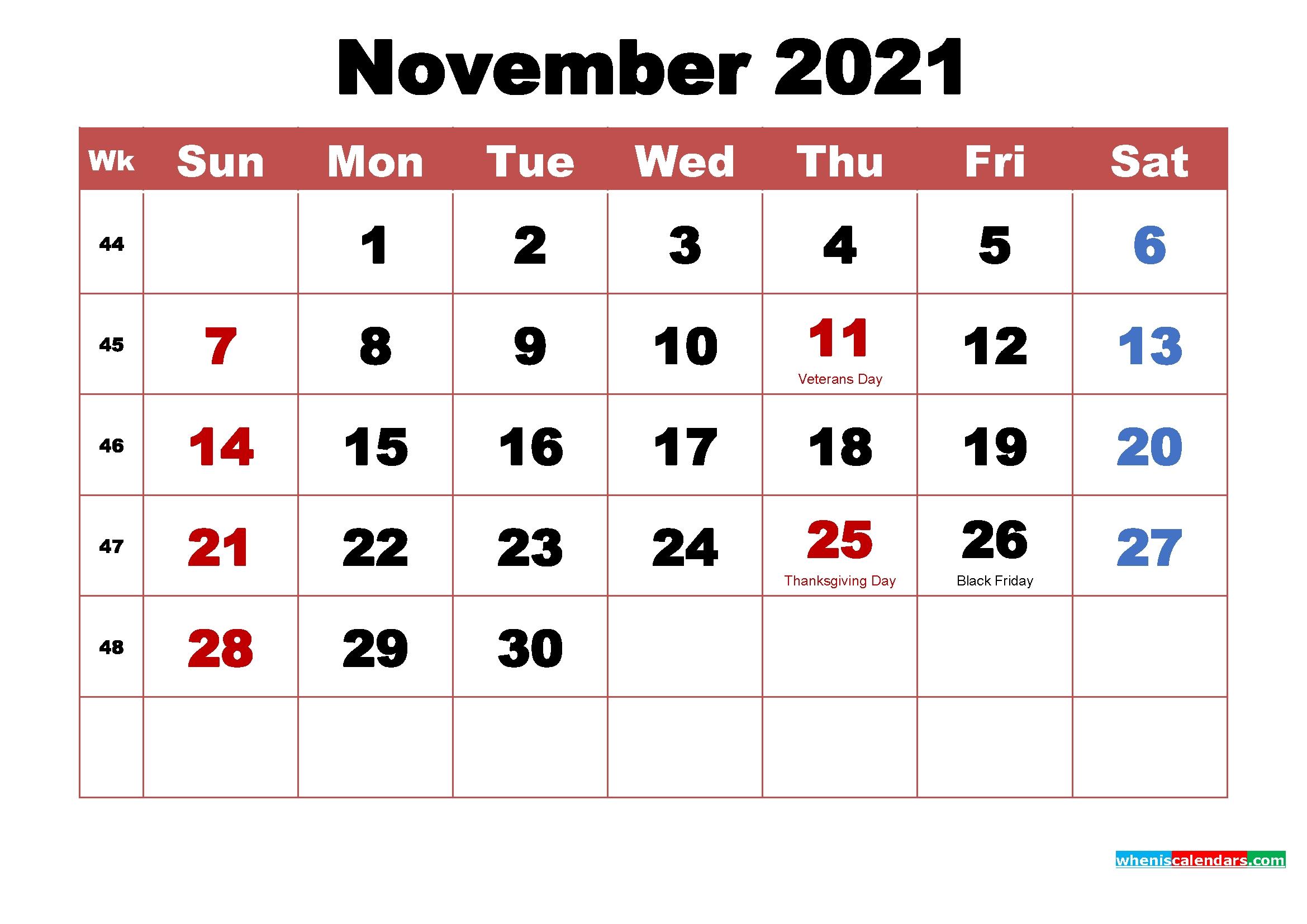 Catch November 2021 Calendar With Holidays