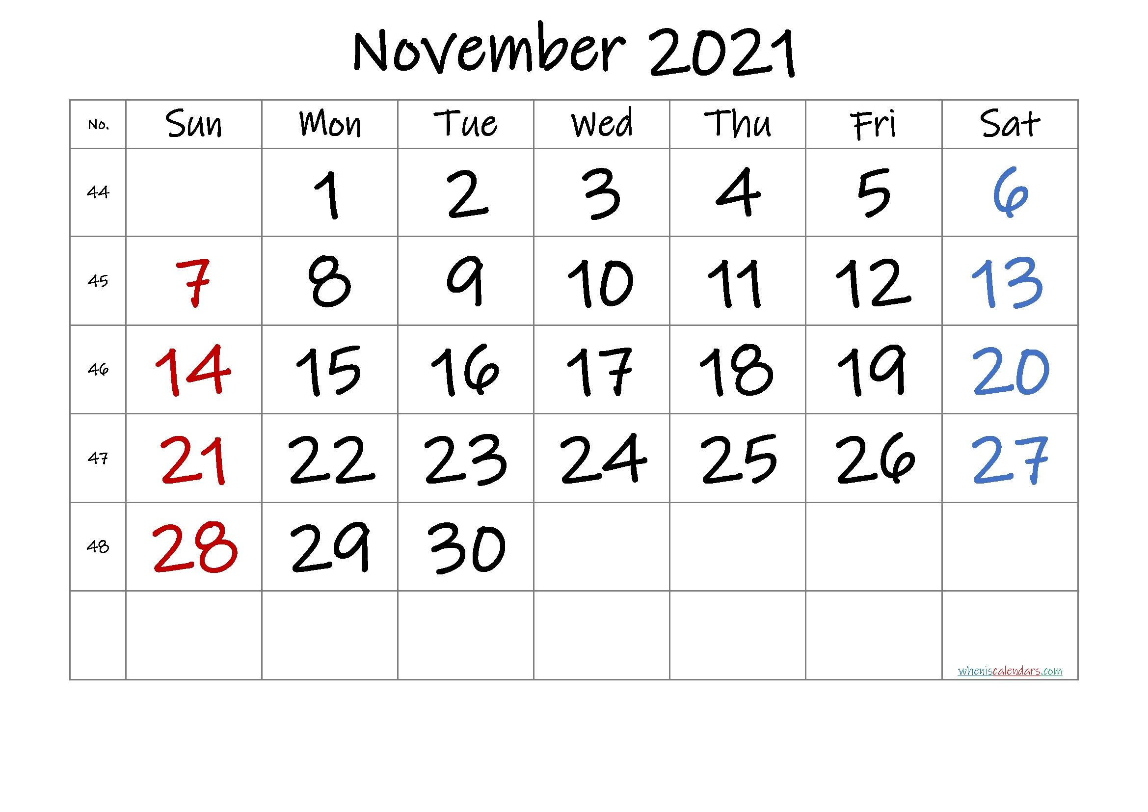 Catch November 2021 Calender Grid