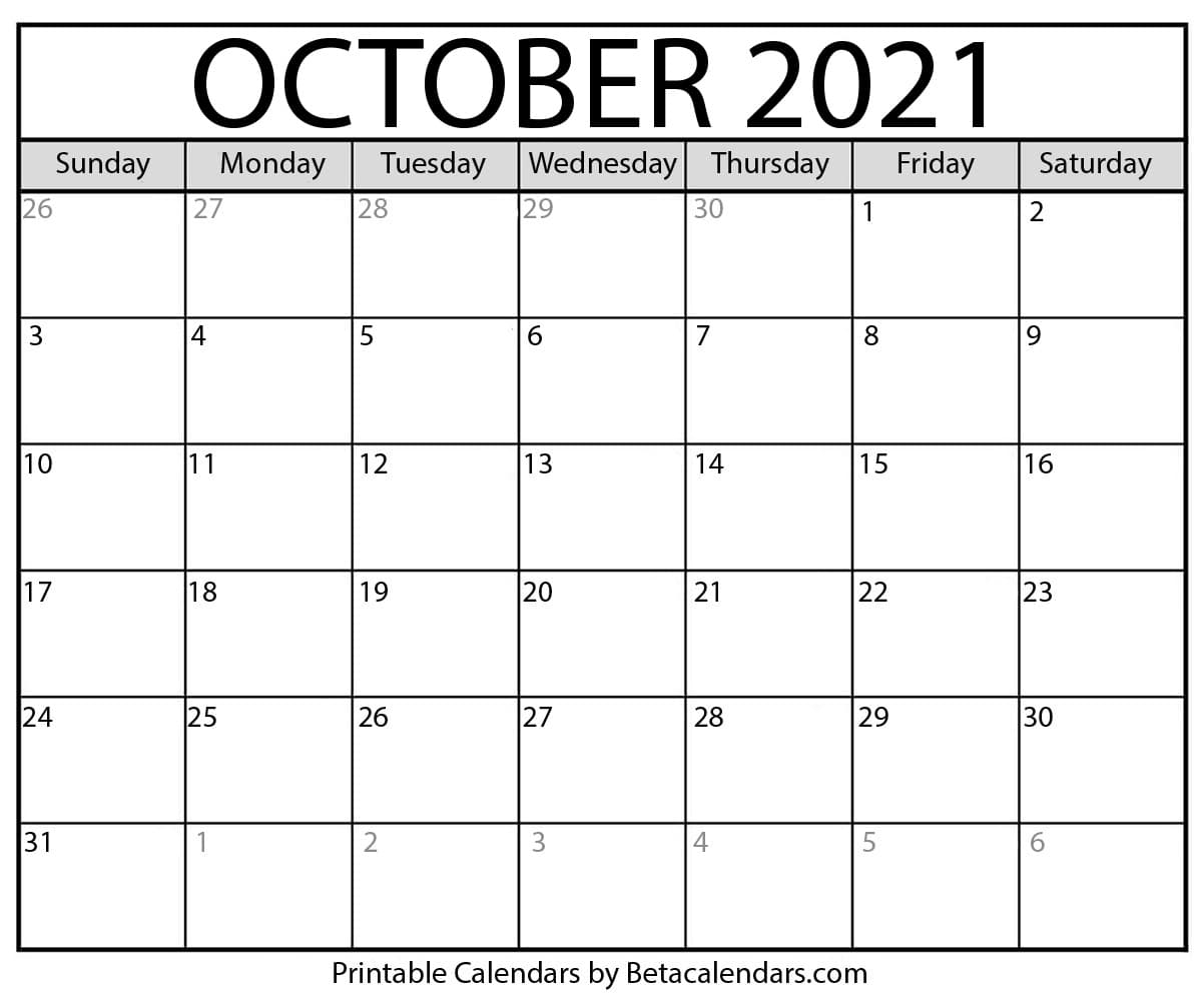 Catch October 2021 Calendar