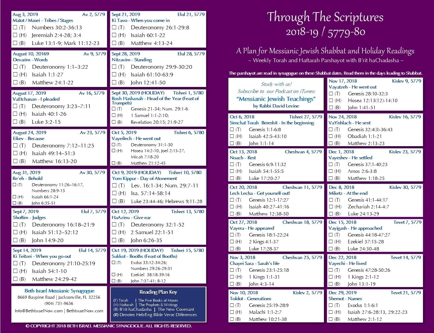 Catch Parsha Calendar Hebrew