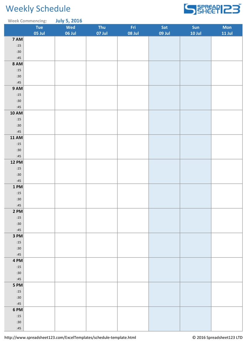 Catch Pick Up Schedule Template