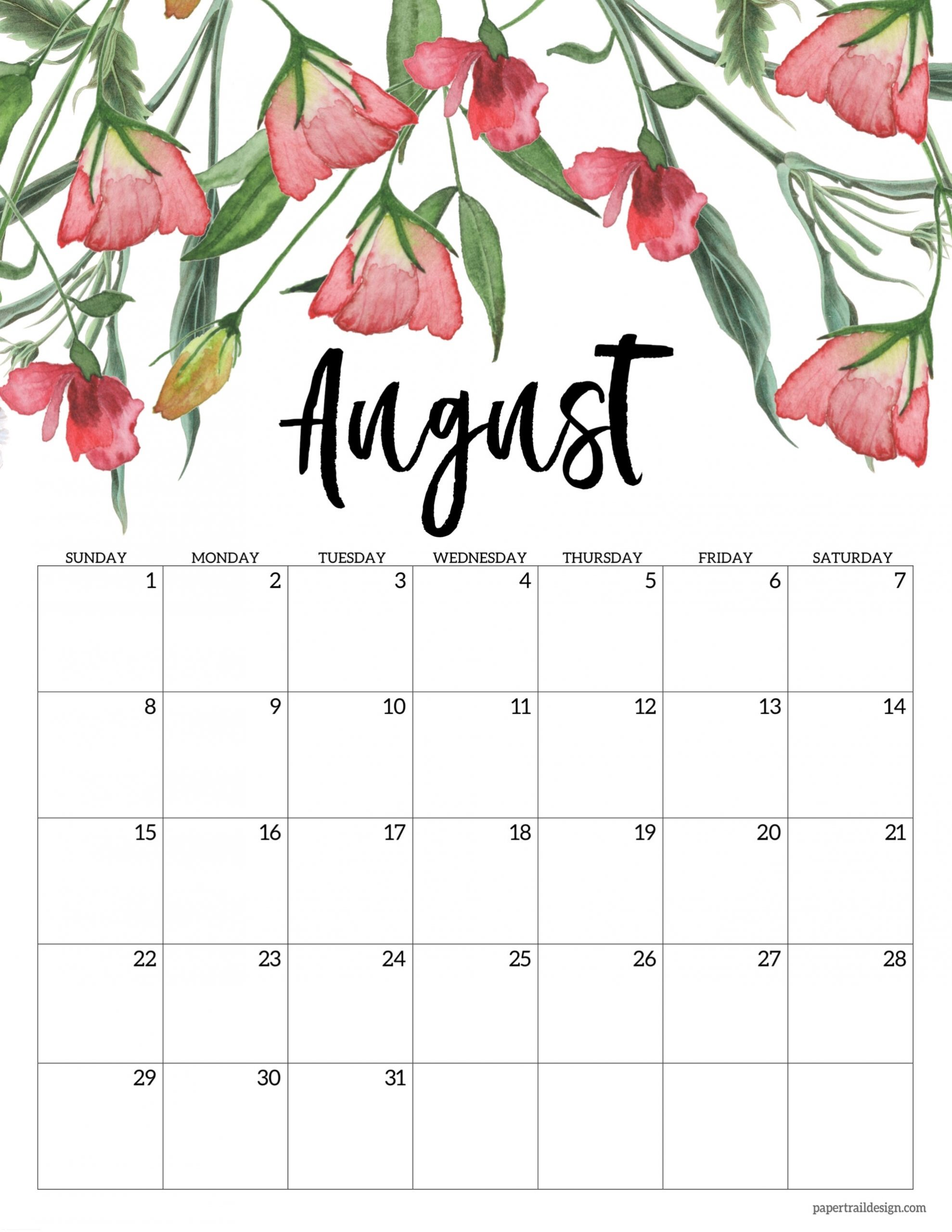 Catch Pink August Calendar 2021 Printable