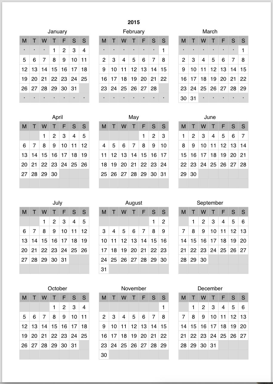 Catch Pocket Sized Calendar Excel