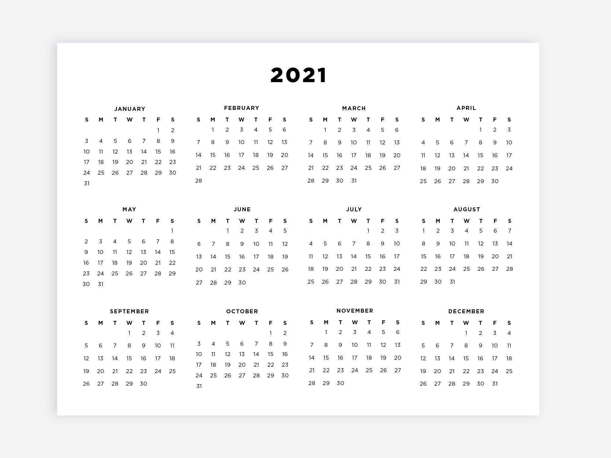 Catch Printable 8.5X11 Calendar
