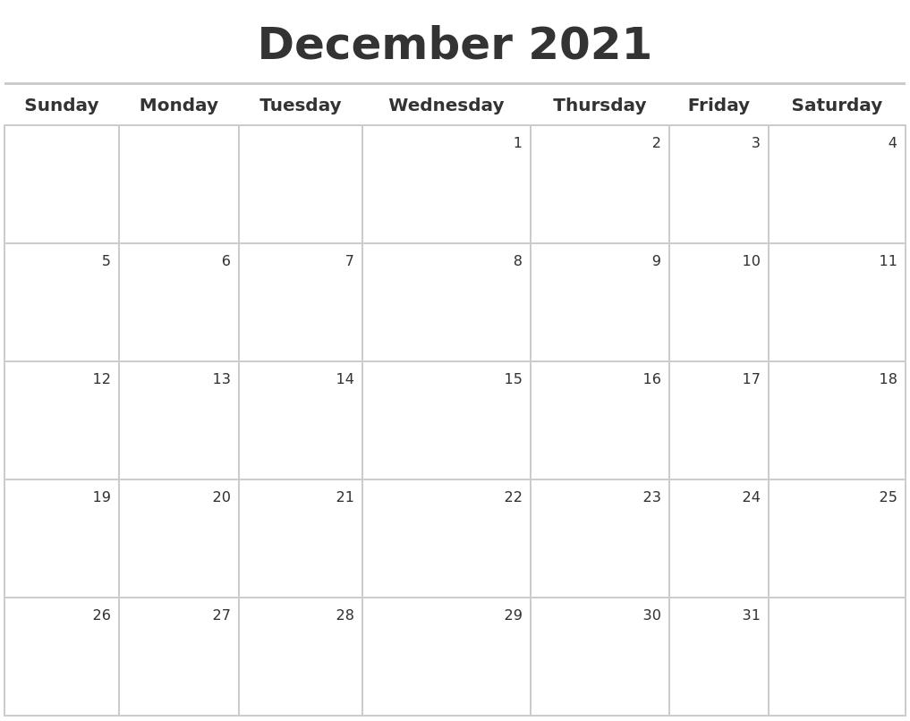 Catch Printable Calendar December 2021 8X11