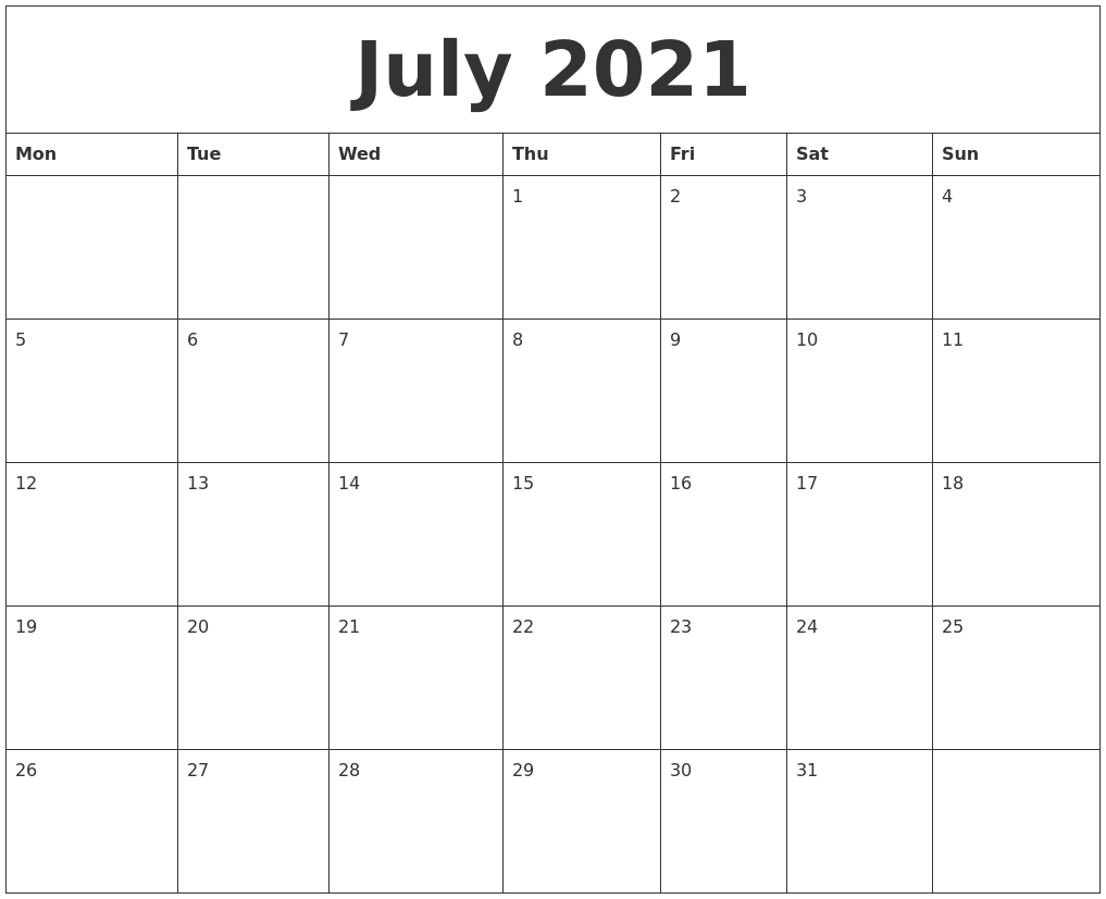 Catch Printable Calendars 2021 Free Weekday Starts On Maonday