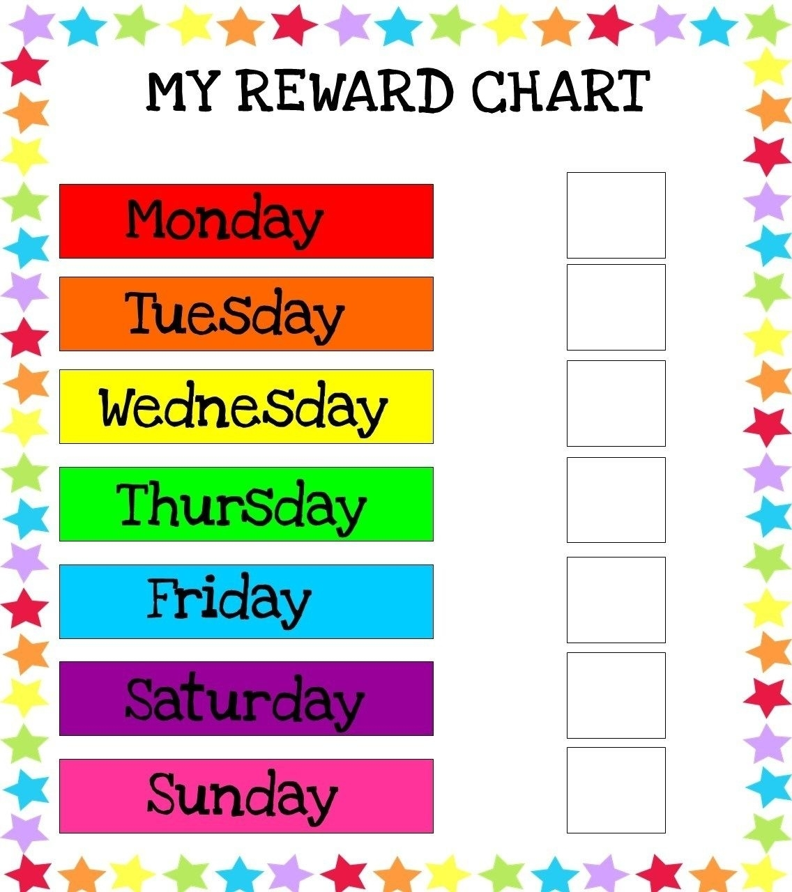 Catch Printable Monday Through Friday Chart