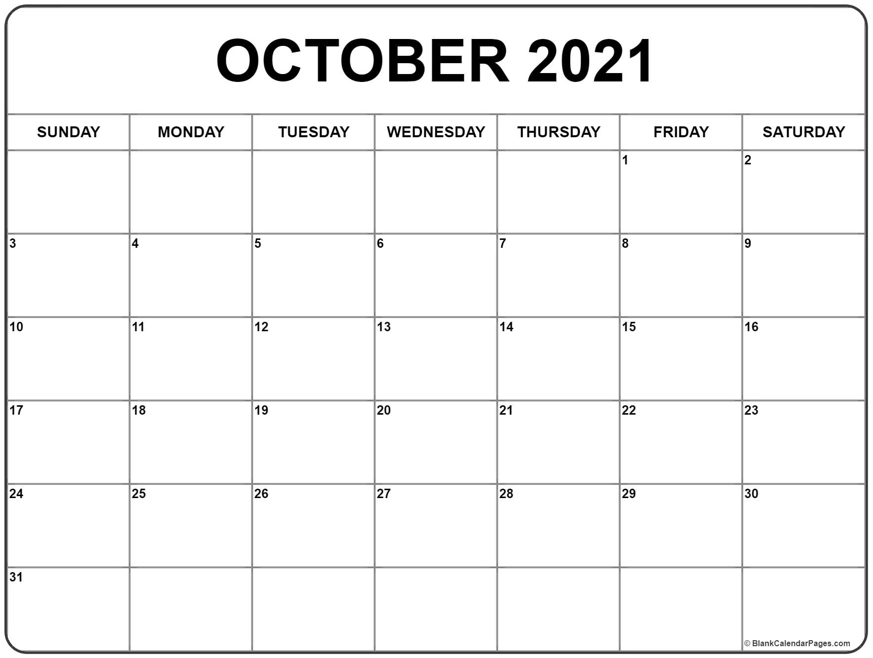 Catch Printable Monthly Calendar Oct 2021 Free
