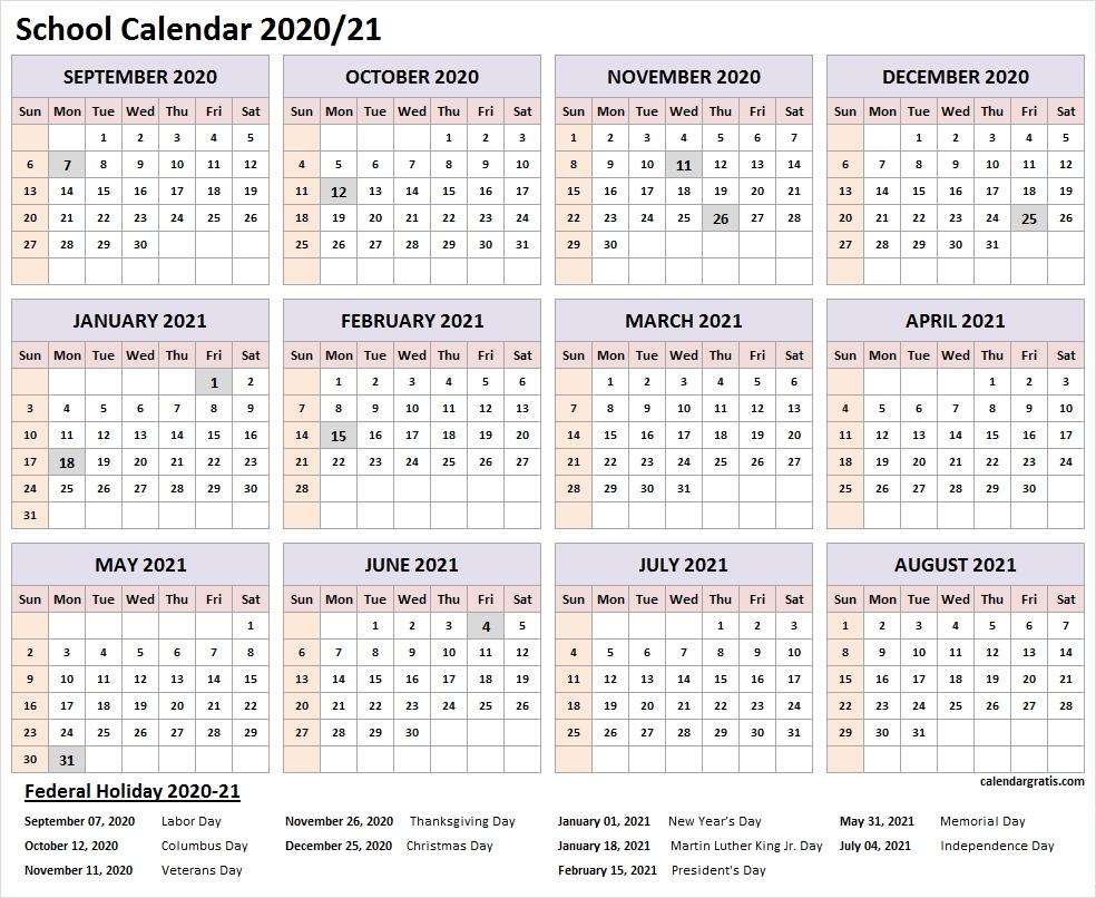 Catch Printable National Calendar 2021