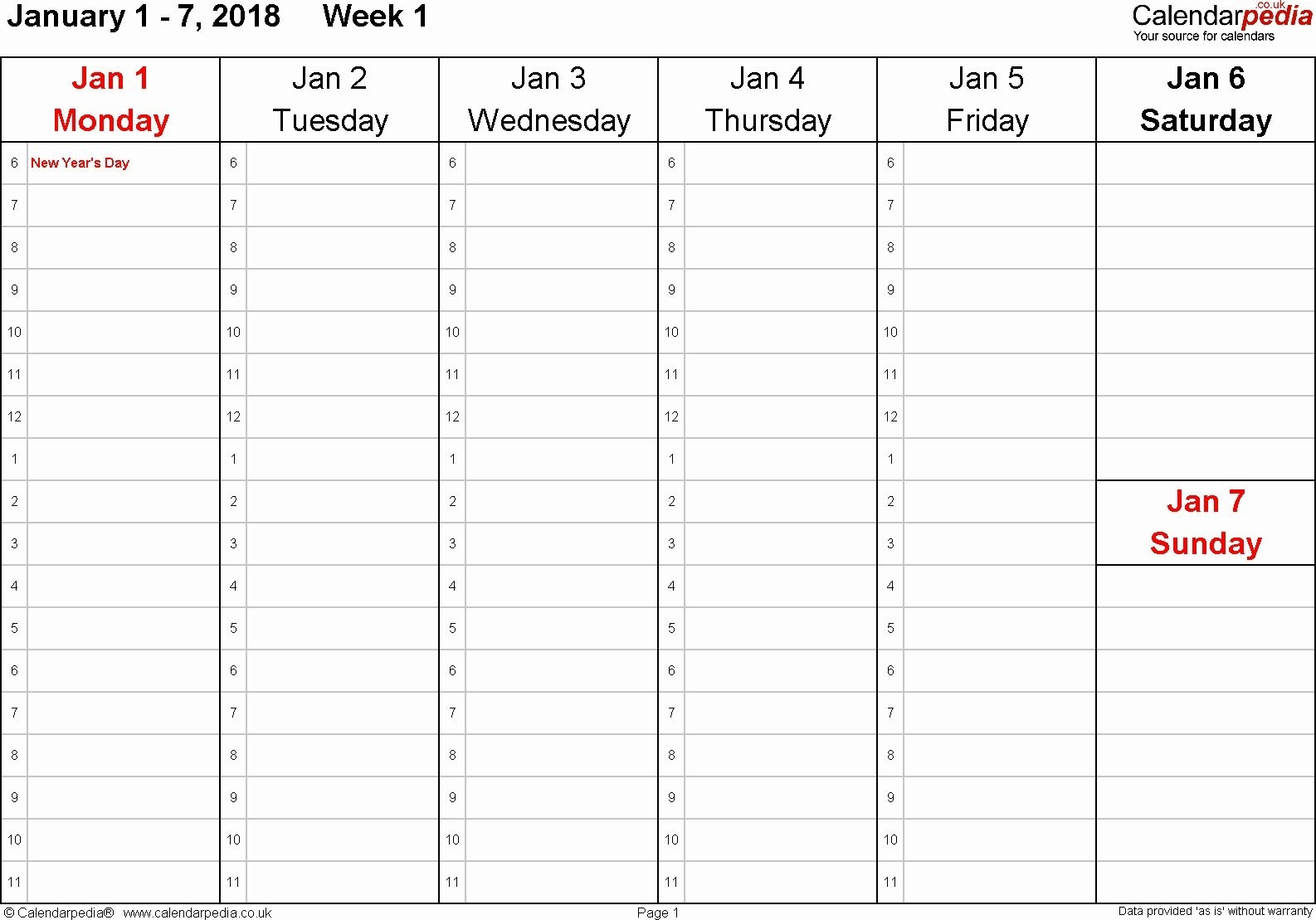 Catch Printable One Week Calendar With Hours