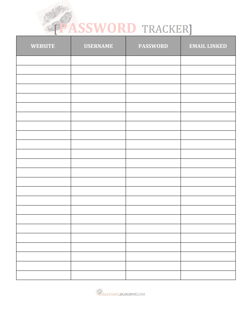 Catch Printable Password Tracker Organizer