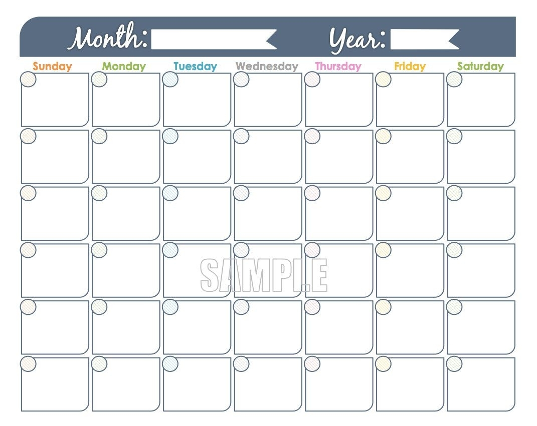 Catch Printable Undated Month