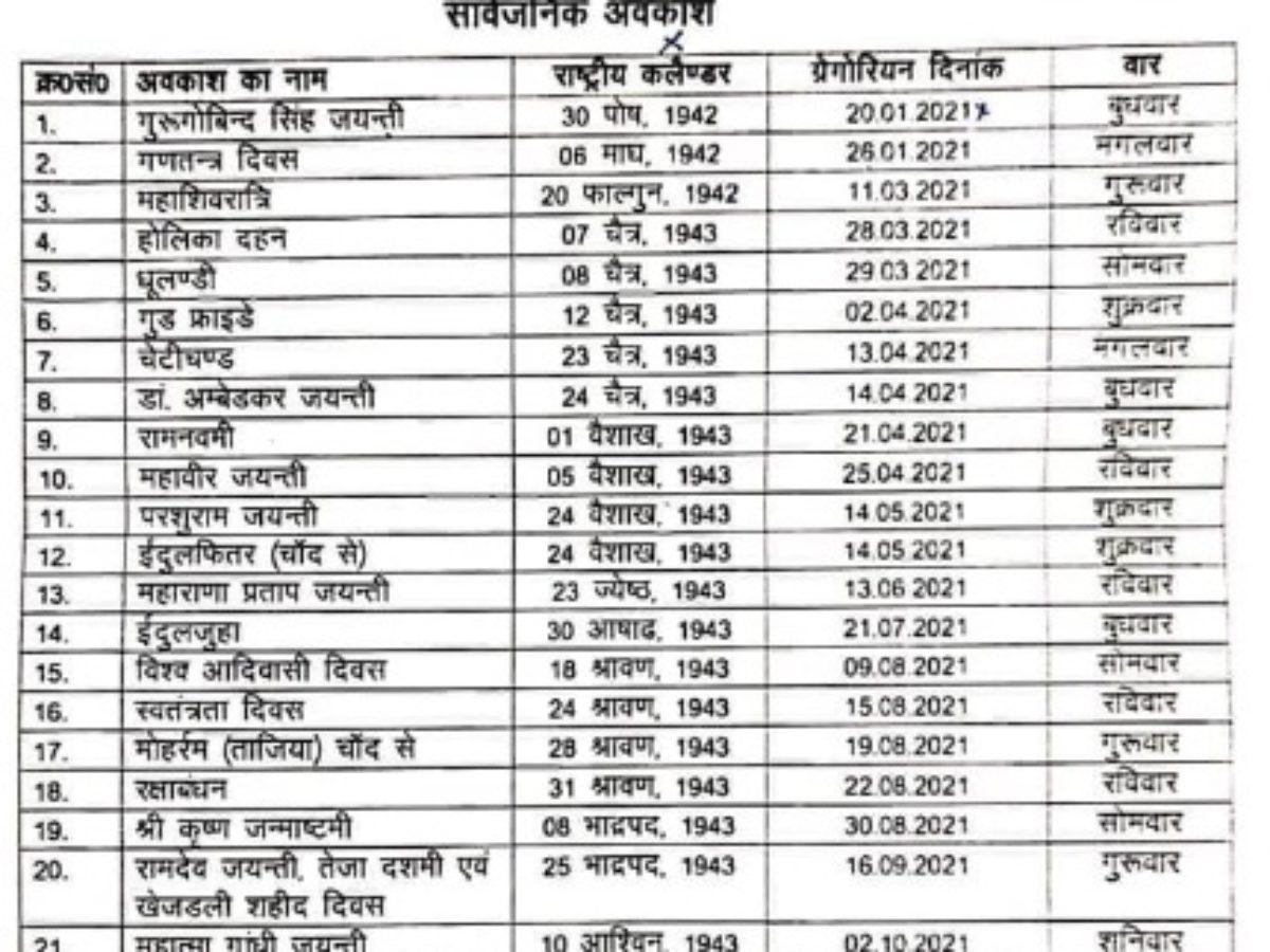 Catch Rajasthan Govt Calendar 2021 With Holidays