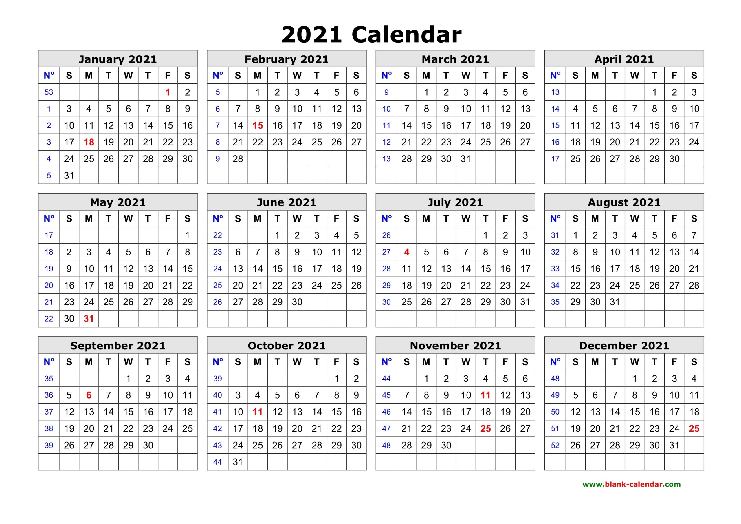 Catch Small Printable 2021 Yearly Calendar