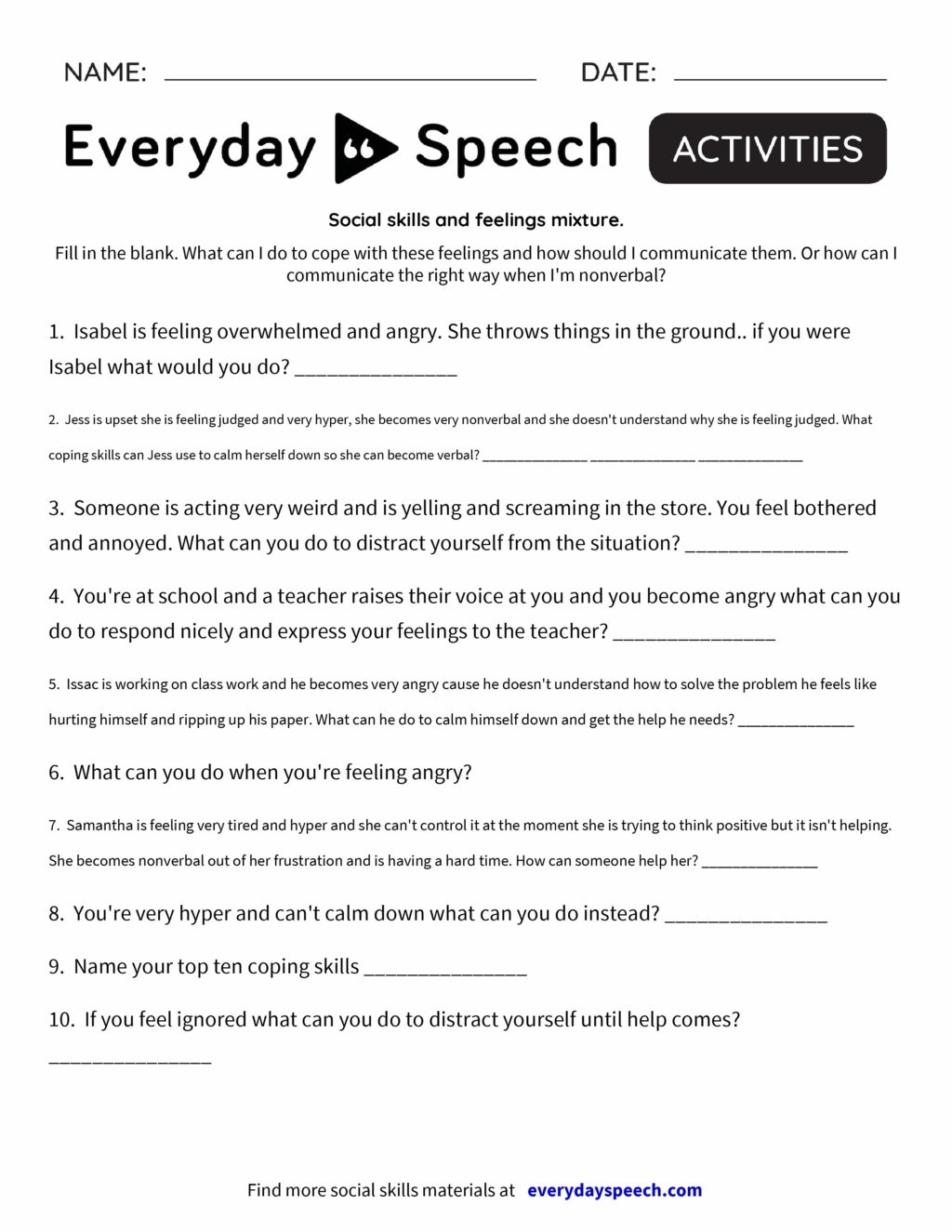 Catch Social Skills Fill In The Blanks Printable Worksheets