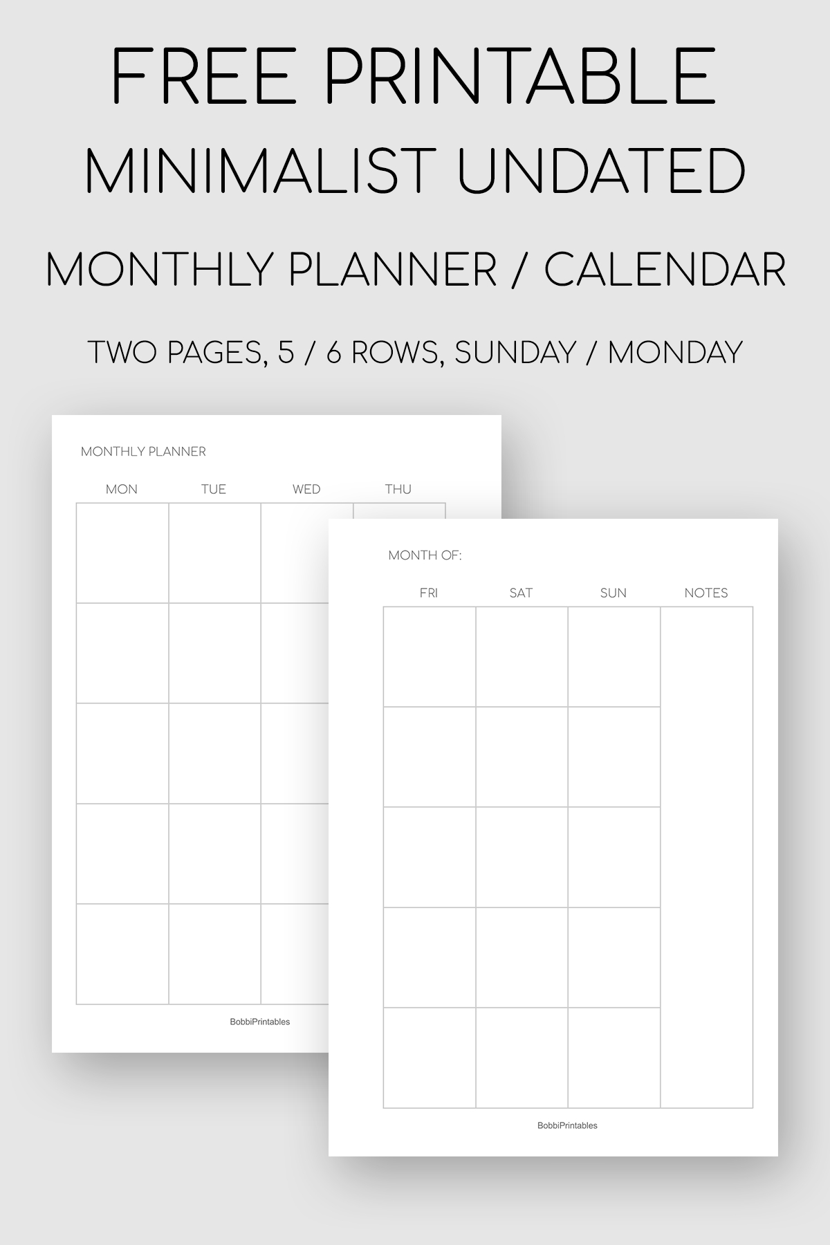 Catch Undated Monthly Planner Pages