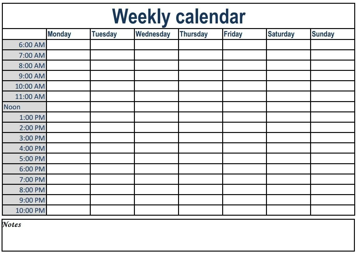 Catch Weekly Calendar With Times