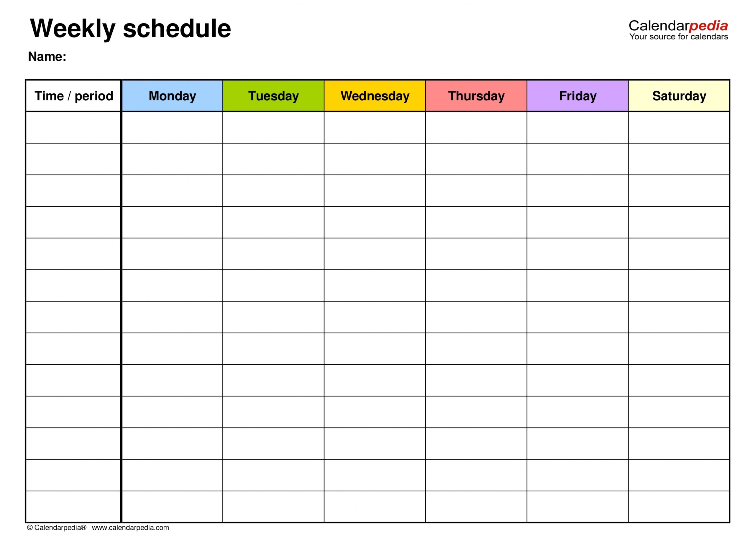 Catch Weekly Schedule Printable