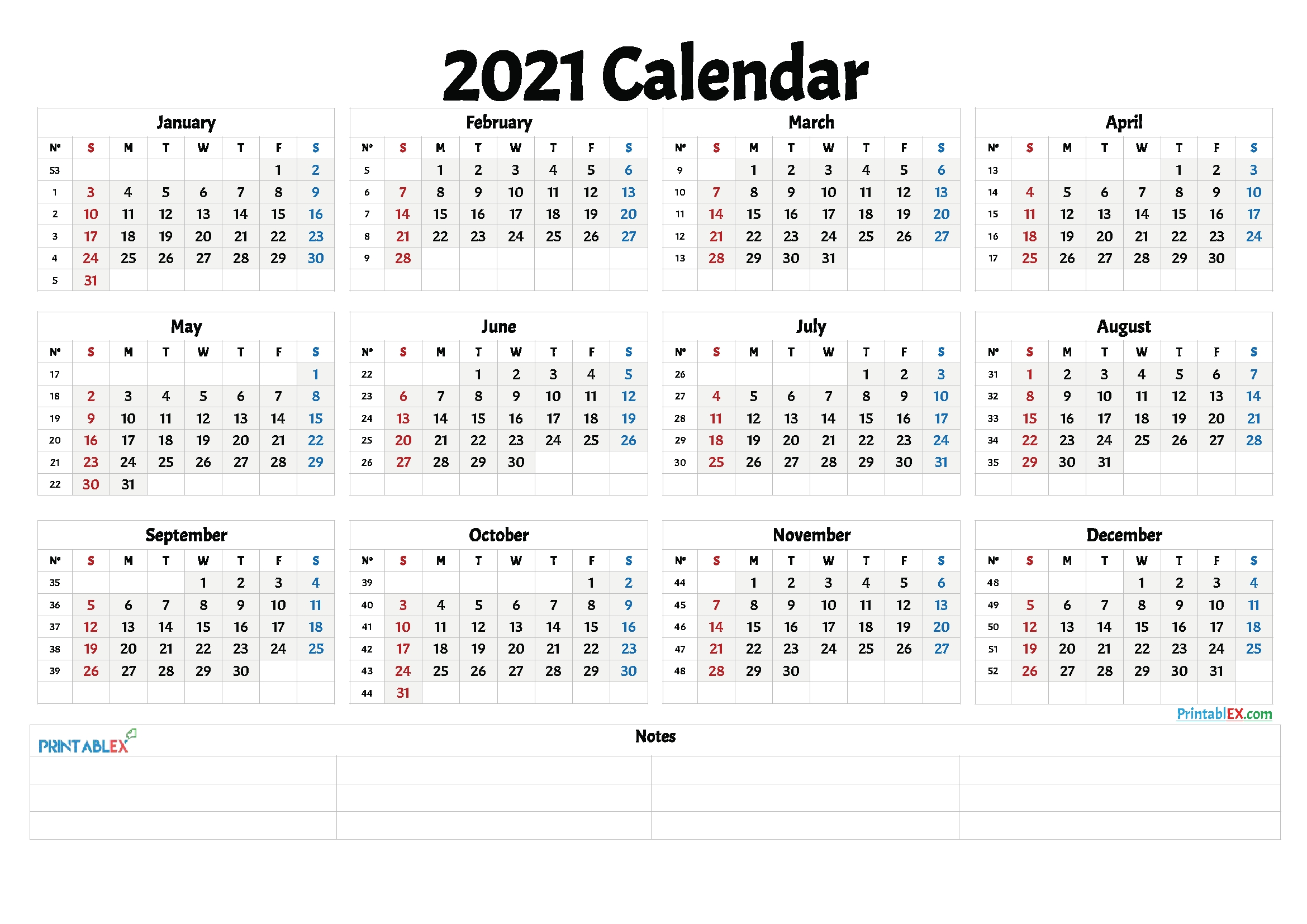 Catch Yearly Calendar 2021 Monday To Sunday