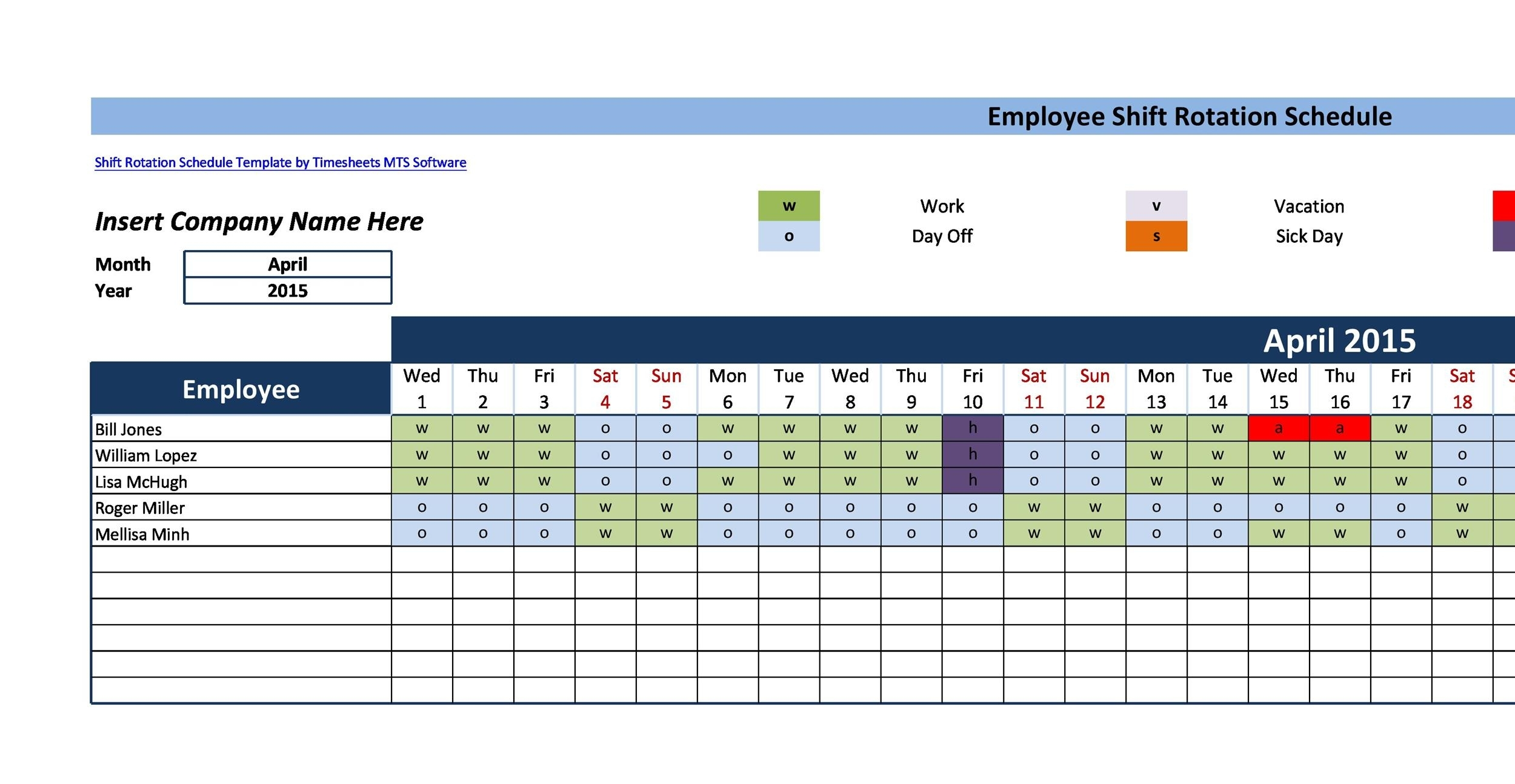 Collect 12 Hour Shift Templates