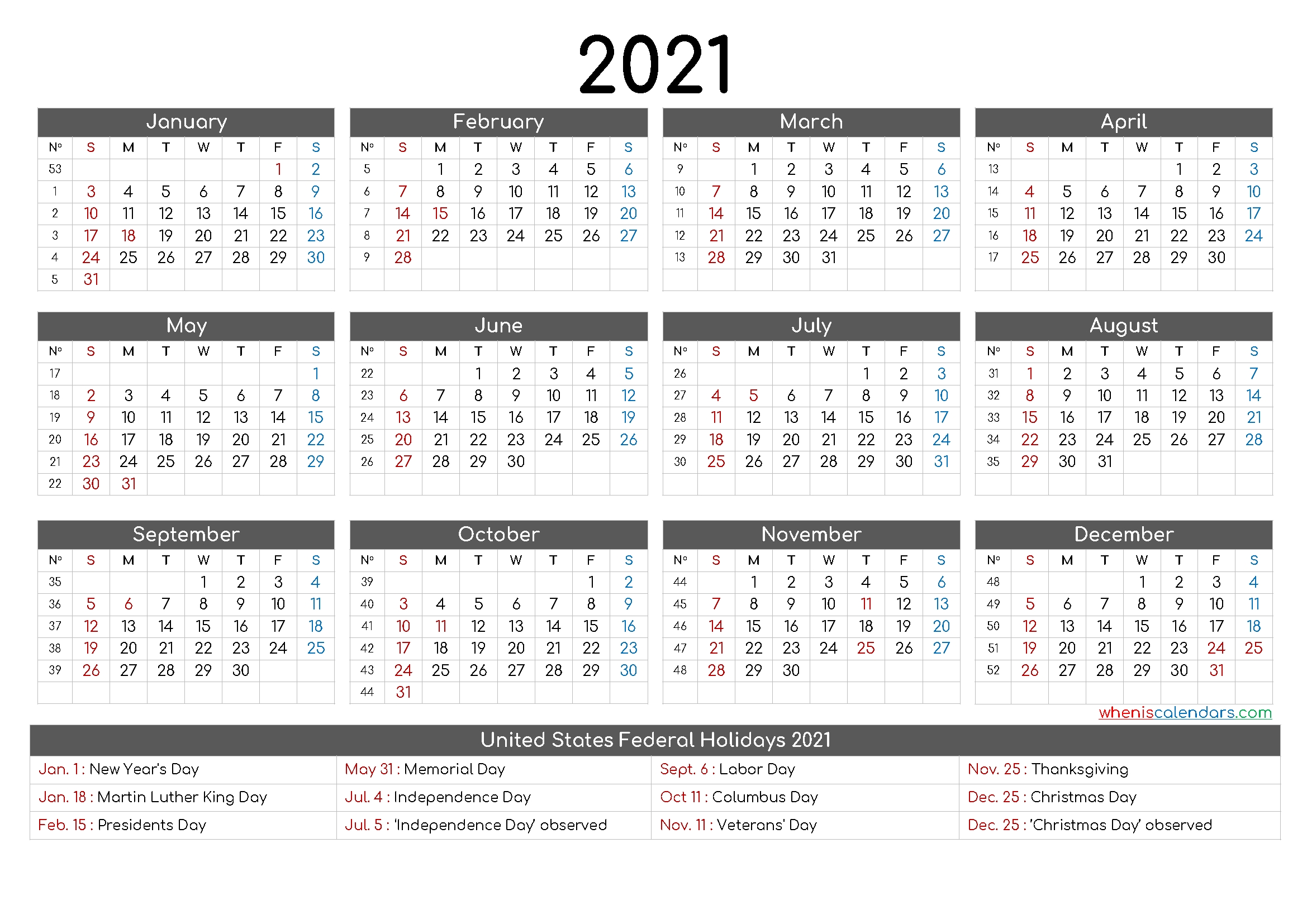 Collect 12 Month Calendar Template2021