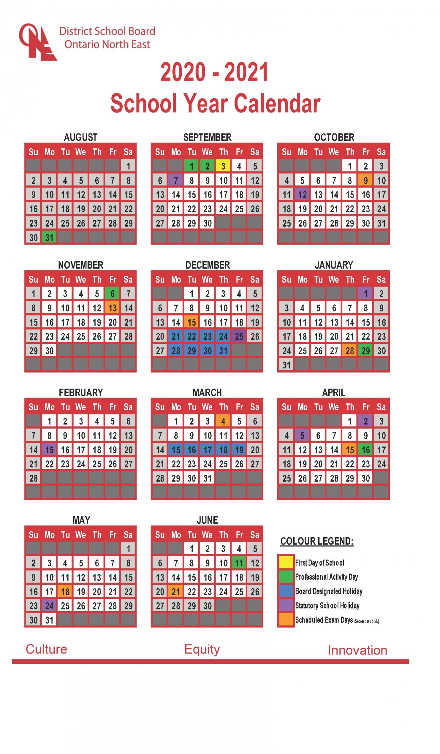 Collect 2021 2021 School Year Calendar