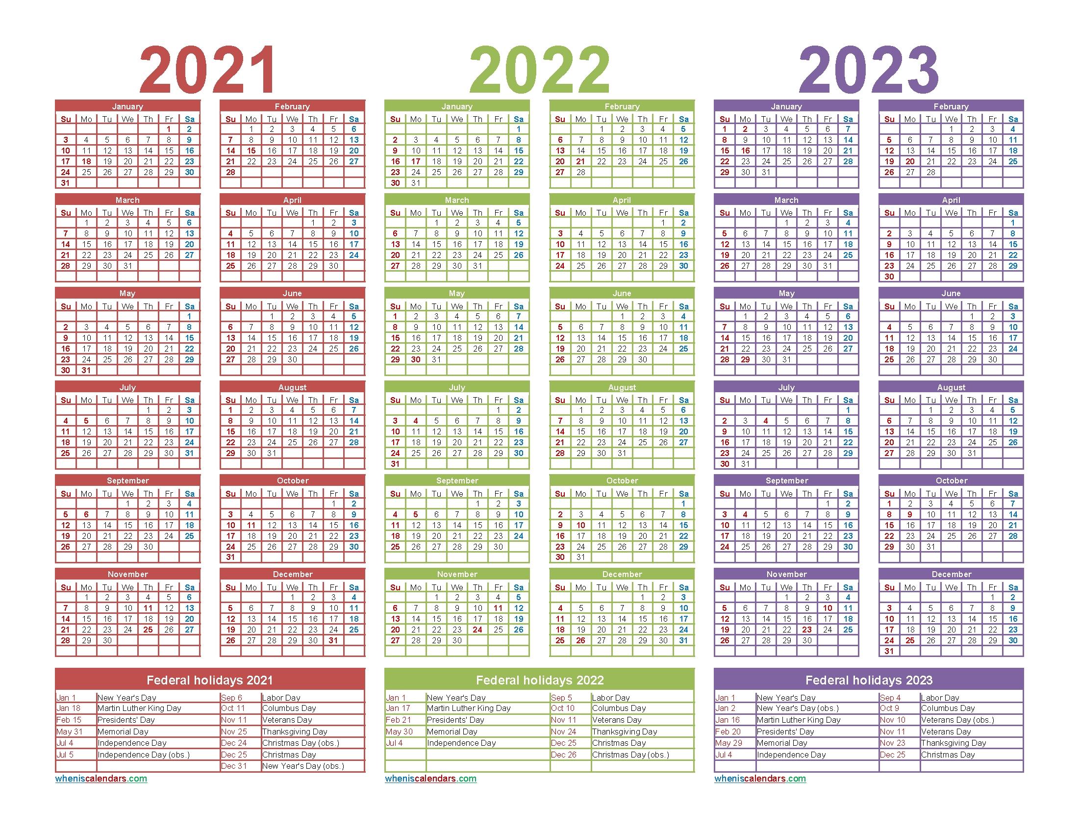 Collect 2021 And 2022 And 2023 Calendar Printable