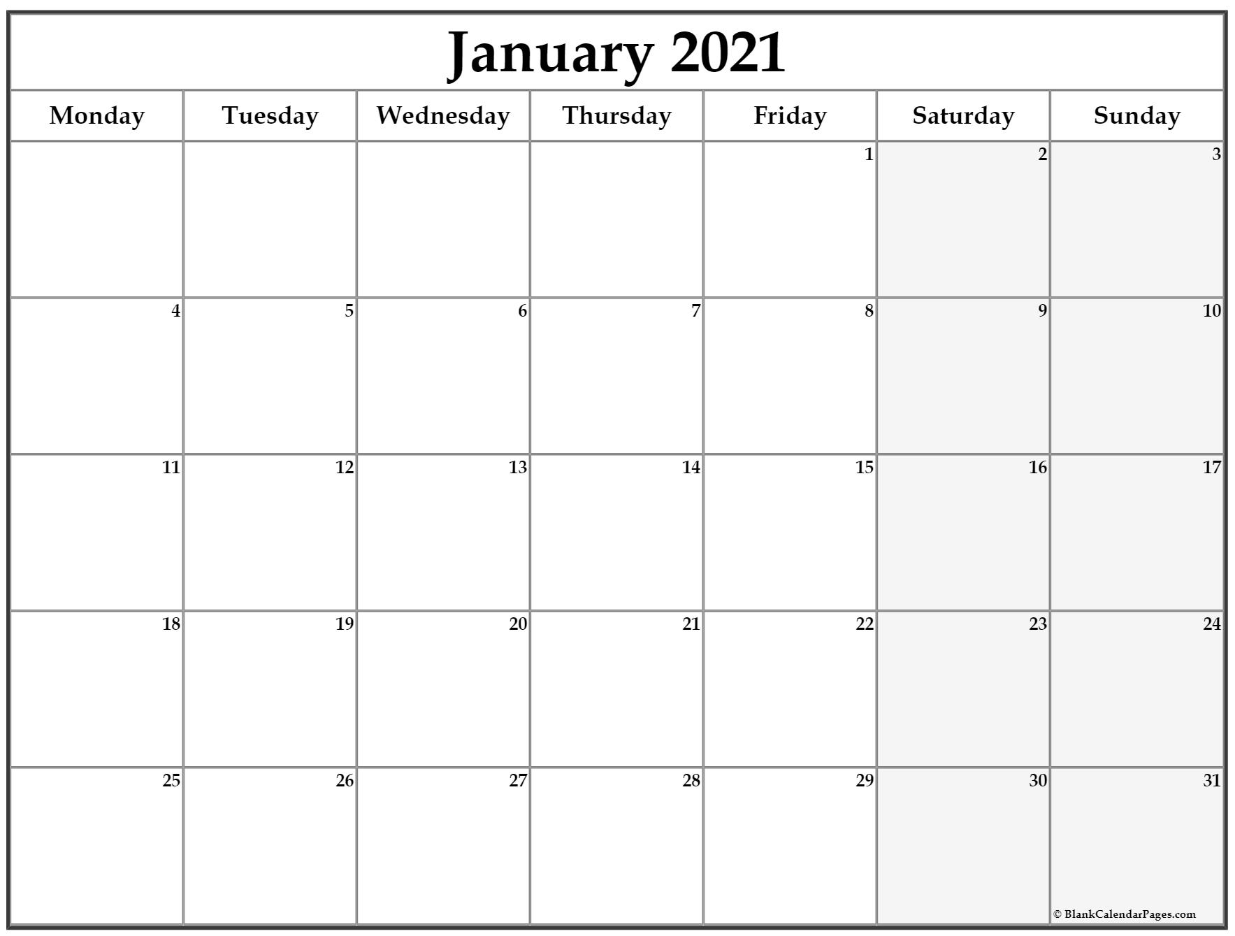 Collect 2021 Calendar Monday Sunday