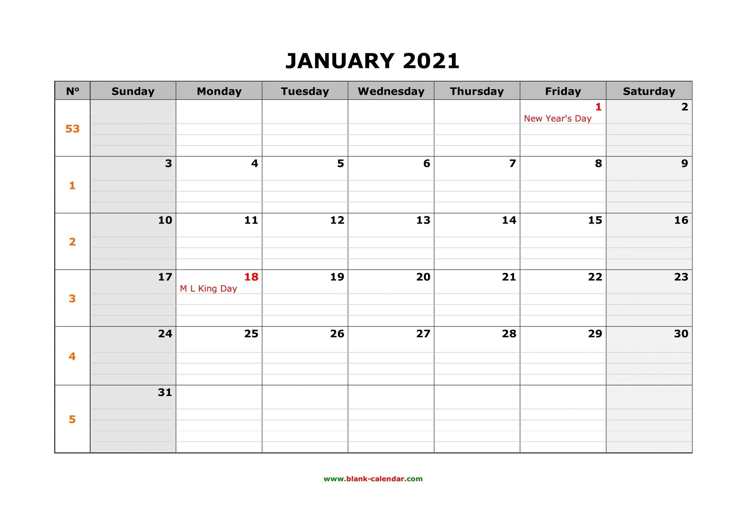 Collect 2021 Calendar Spaces