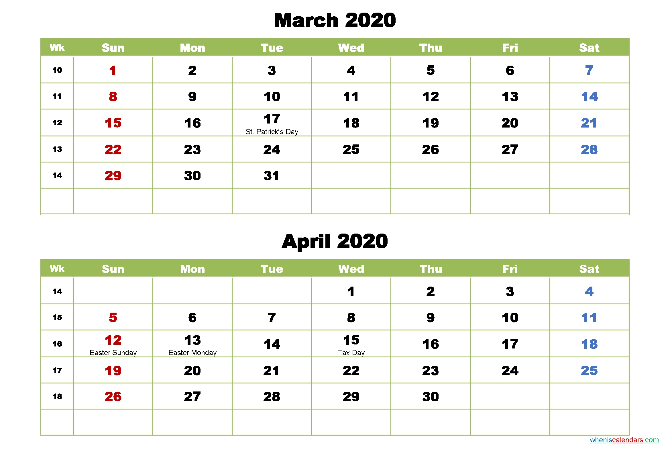 Collect 2021 Calendar Two Months Per Page