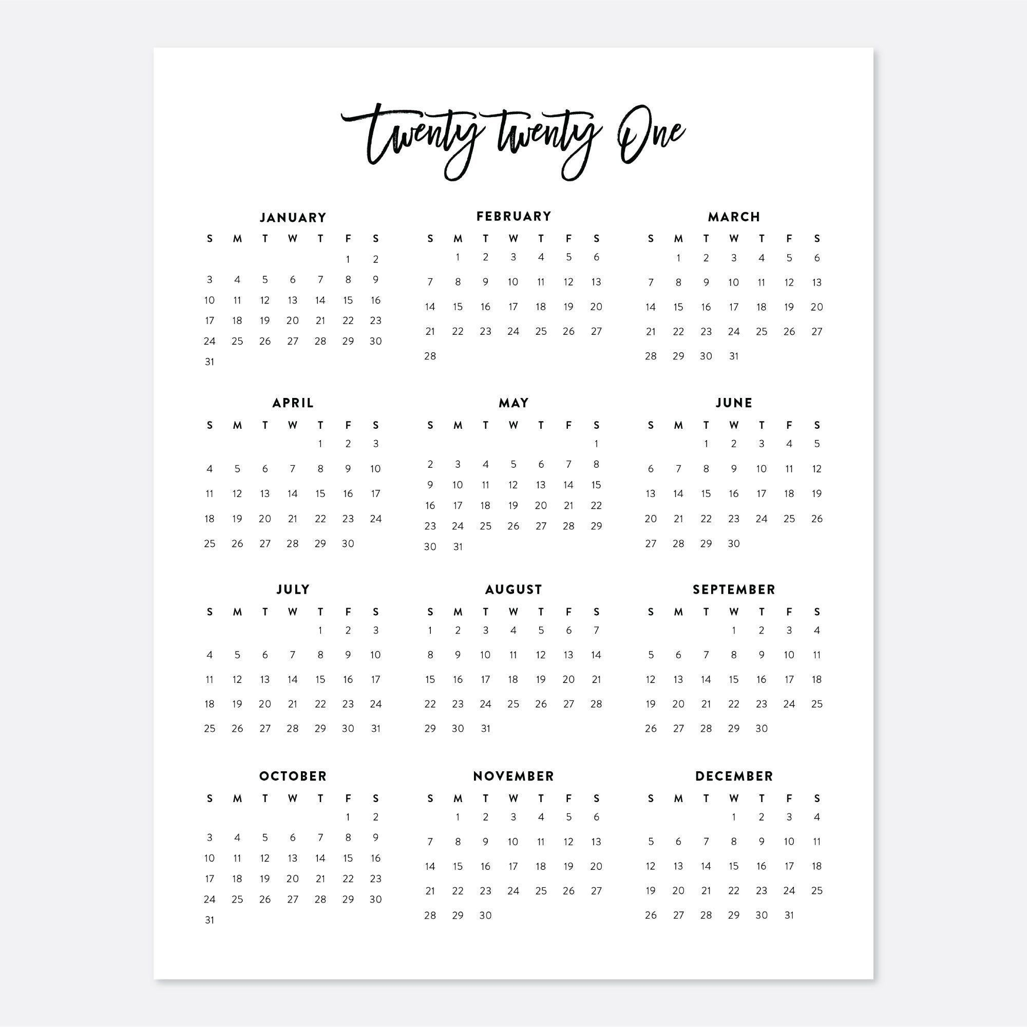 Collect 2021 Calendar Year At A Glance Printable