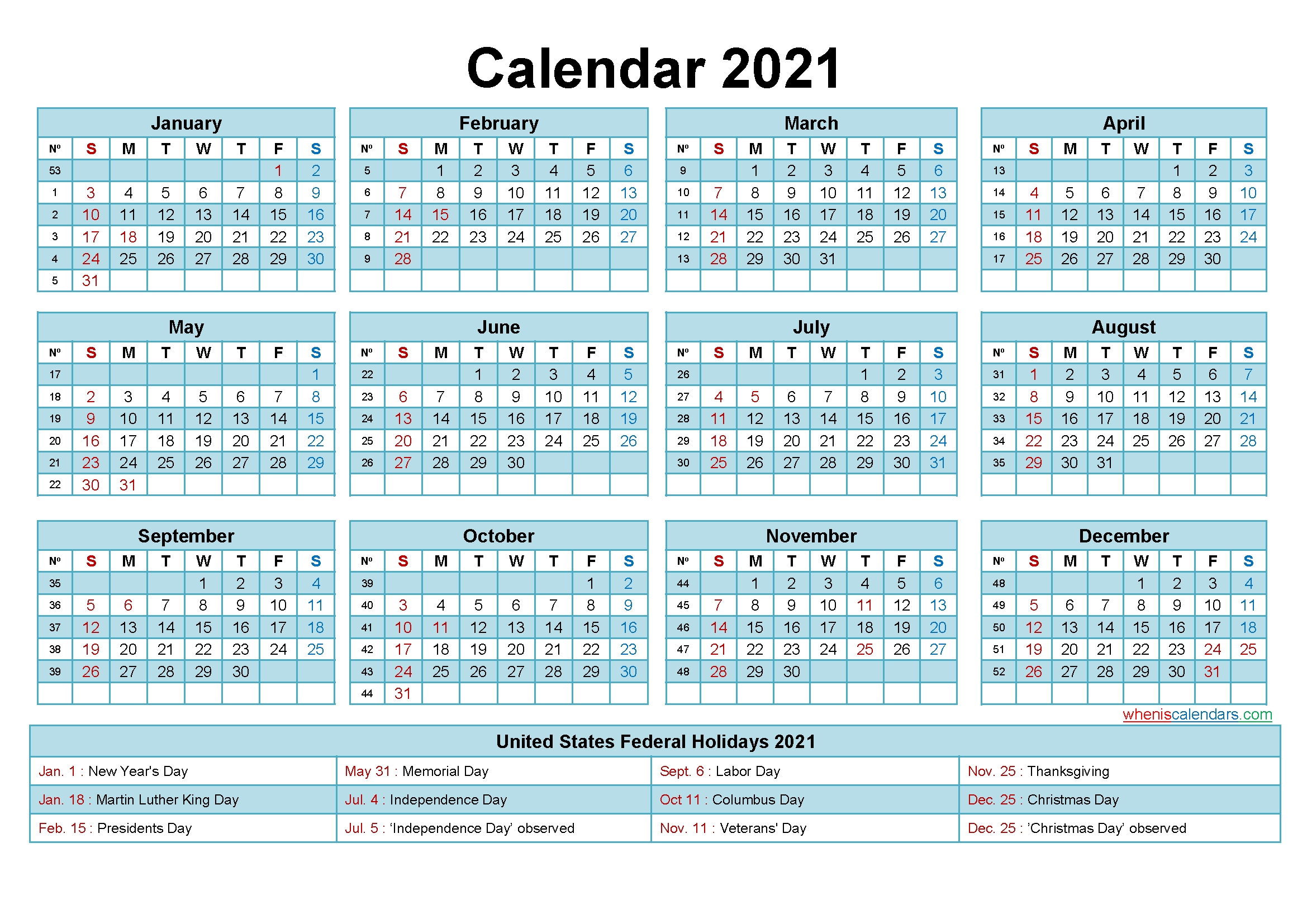 Collect 2021 Financial Calendar With Week Numbers