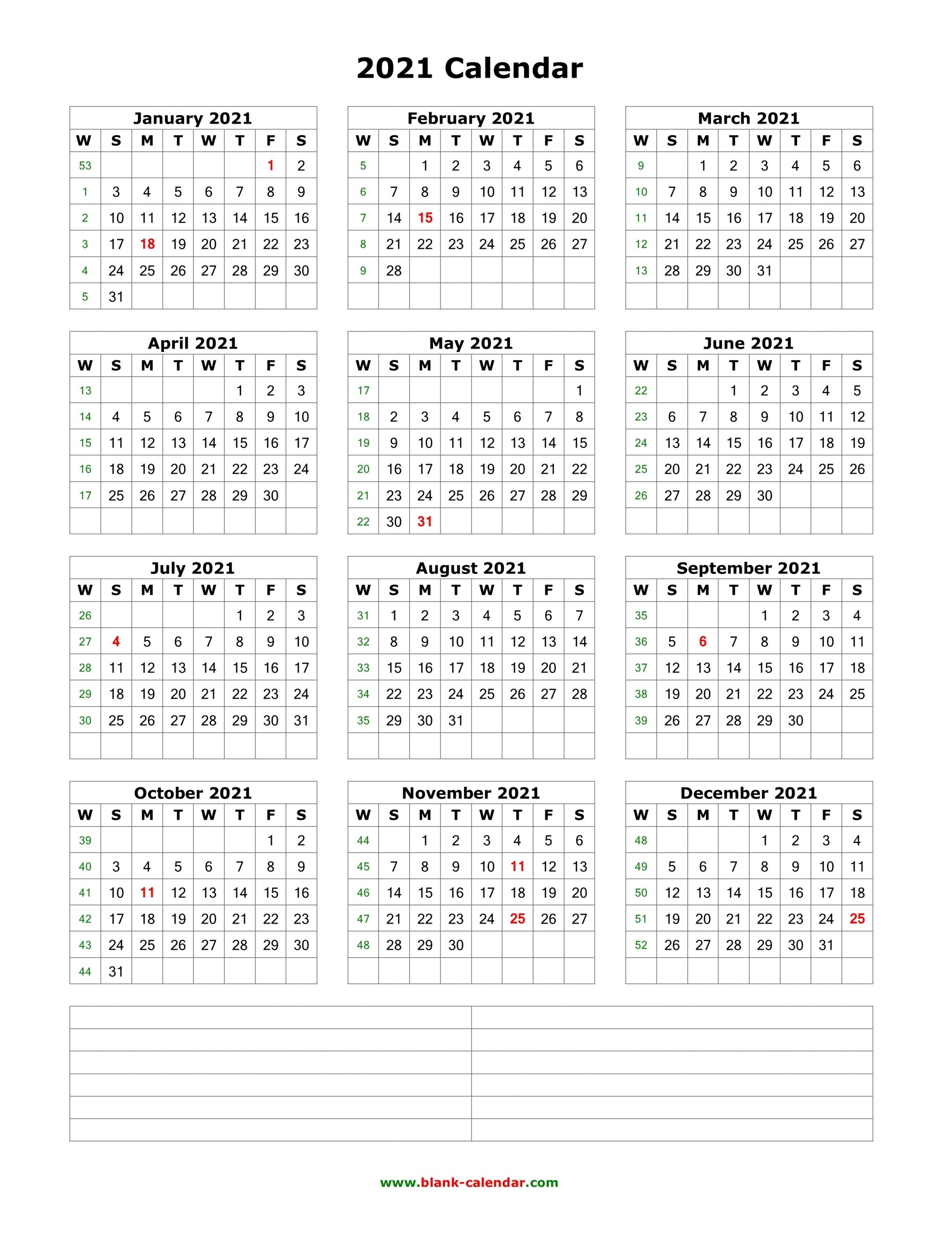 Collect 2021 Free 12 Month Printable Monthly Calendar