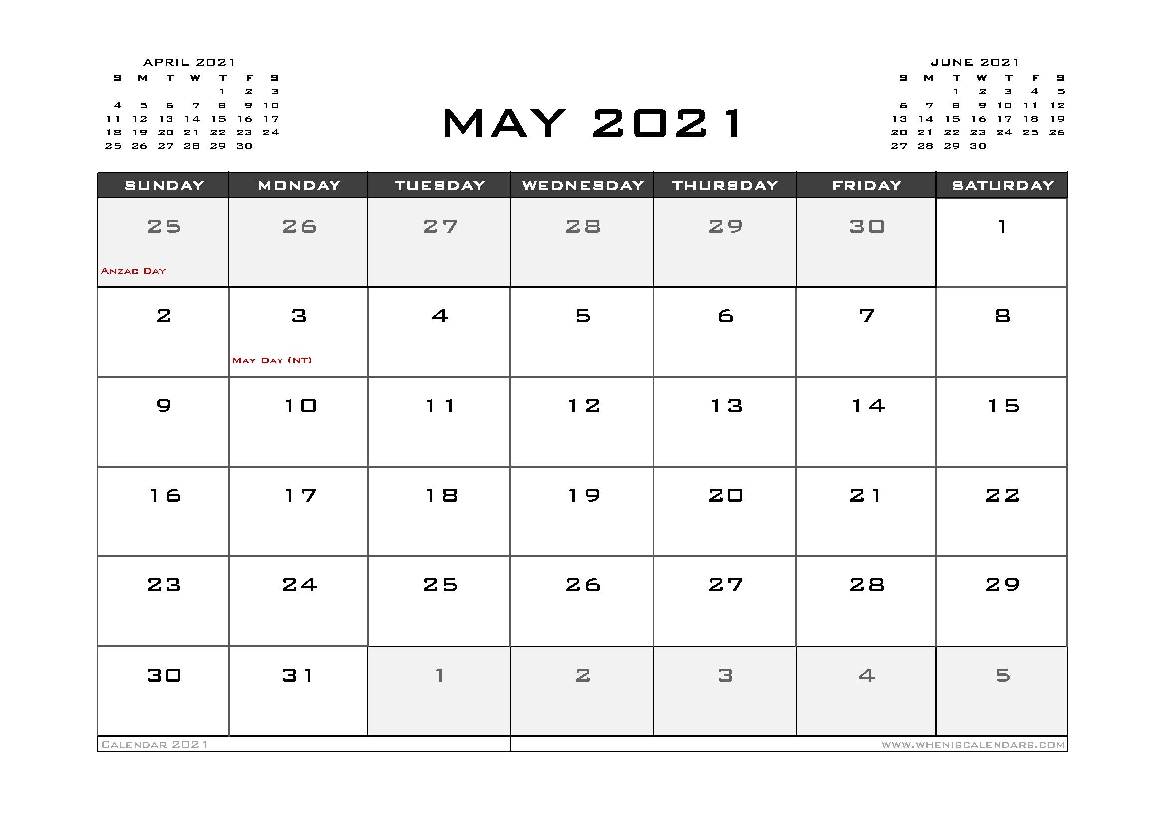 Collect 2021 Free Printable Calendar Australia