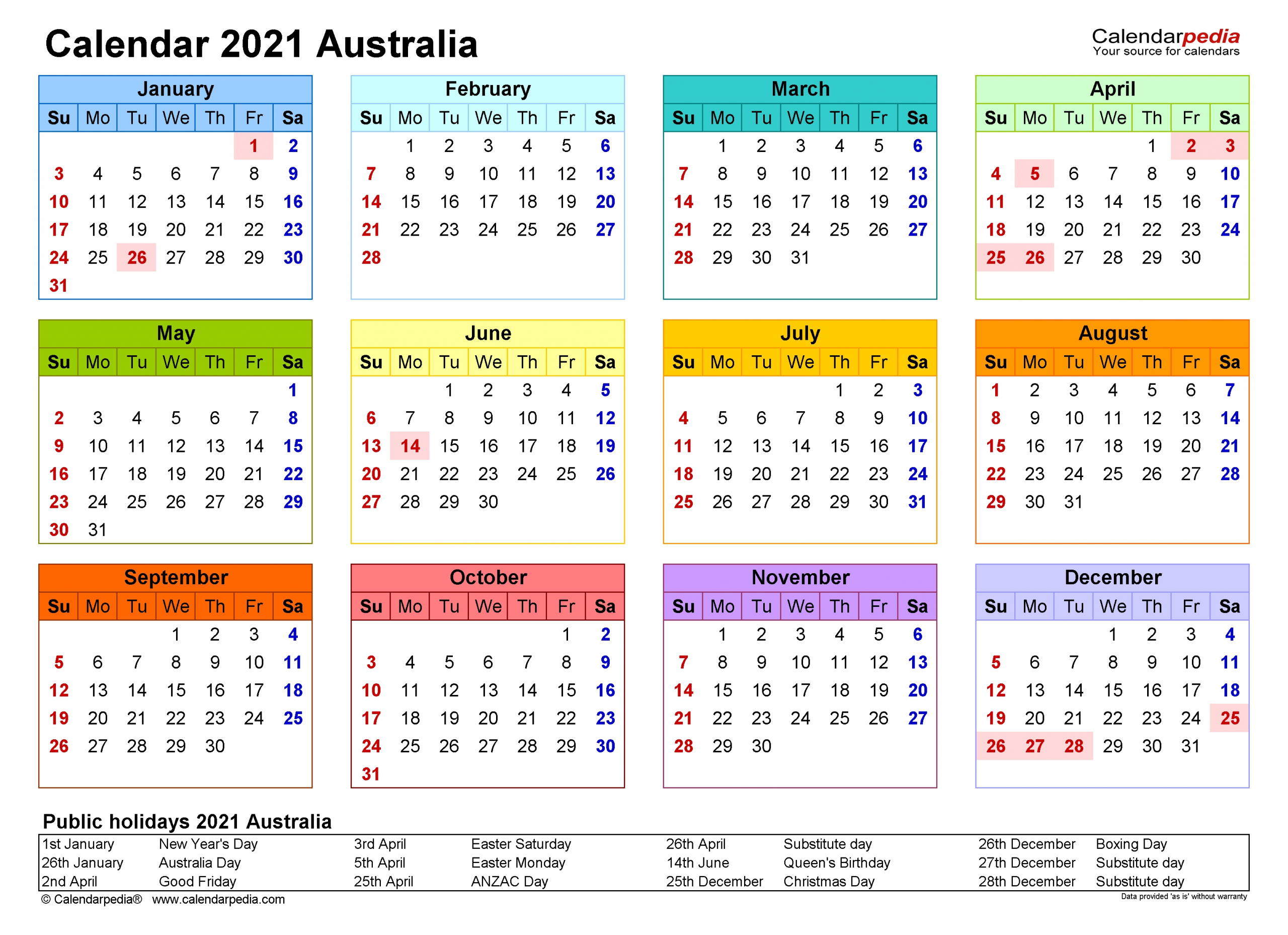 Collect 2021 Free Printable Calendar Australia