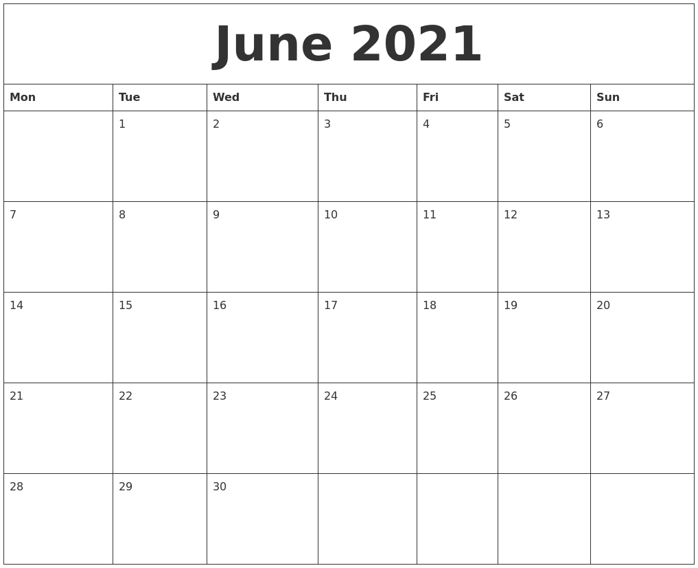 Collect 2021 June Calendars To Print Without Downloading