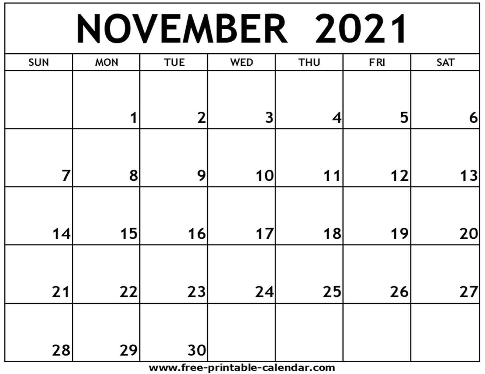 Collect 2021 November Calendar Printable Free