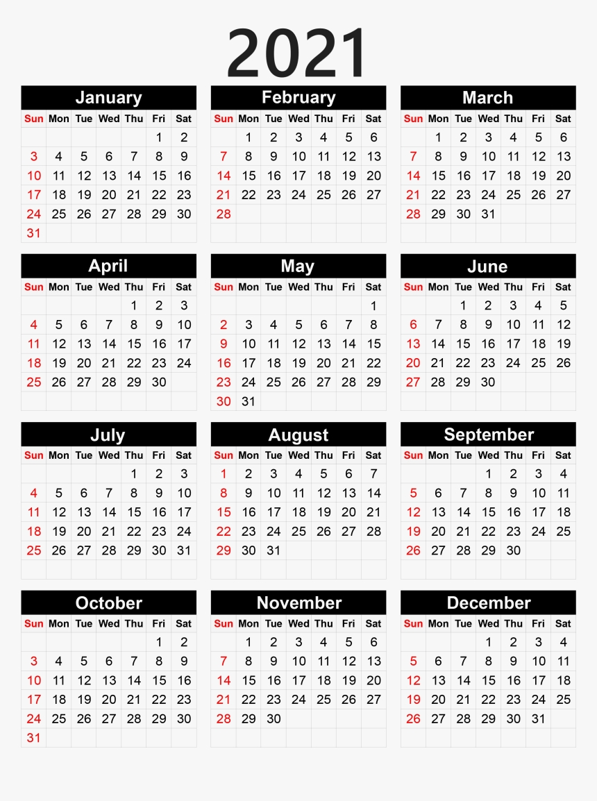 Collect 2021 Pocket Calendar Printable
