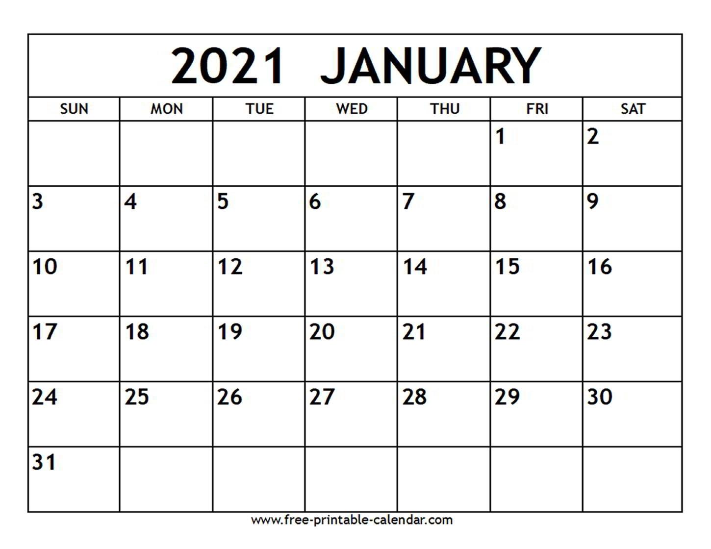 Collect 2021 Printable Calendar