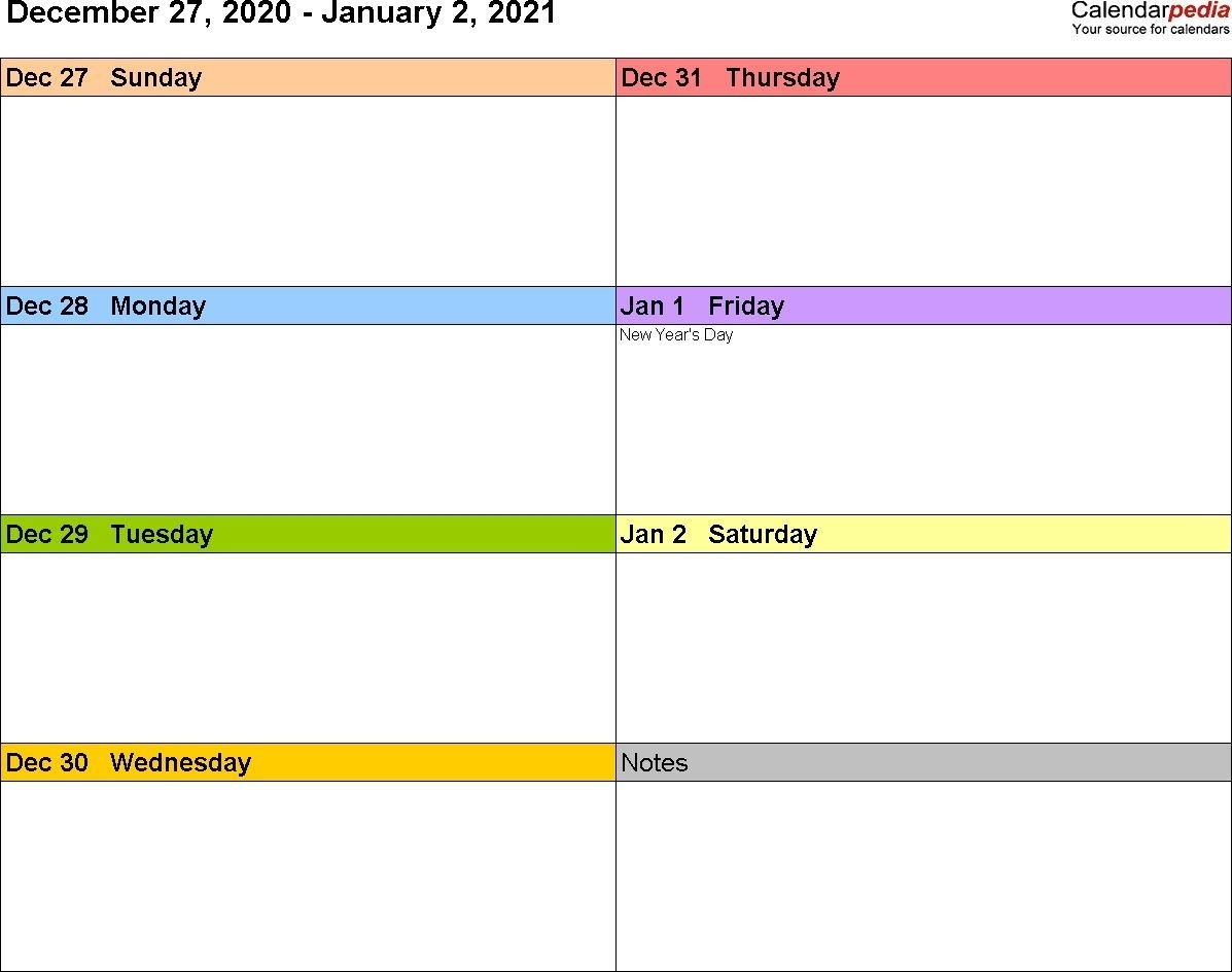 Collect 2021 Printable Calendar Weekly Templates Free