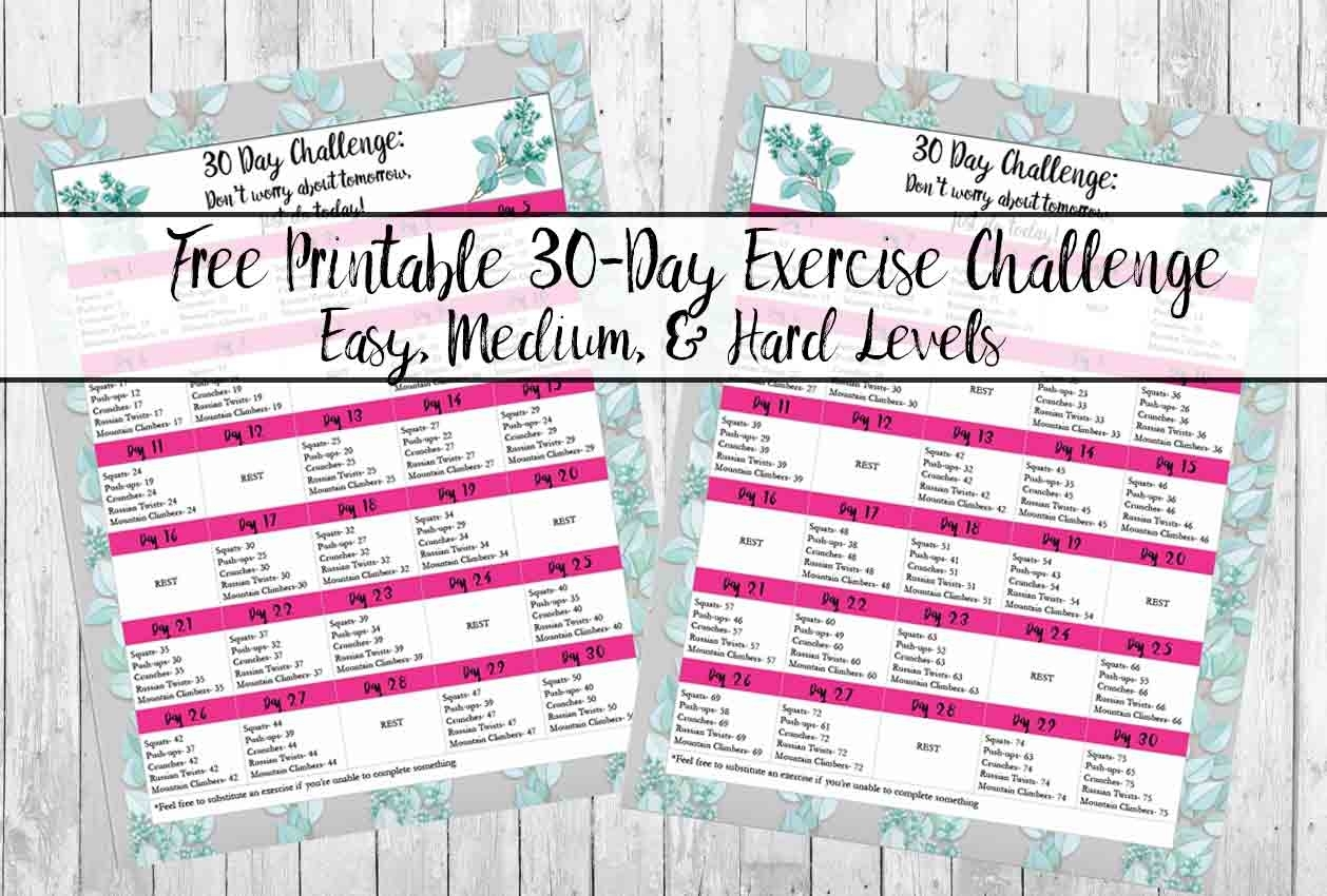 Collect 30 Day Fitness Challenges Printable Charts