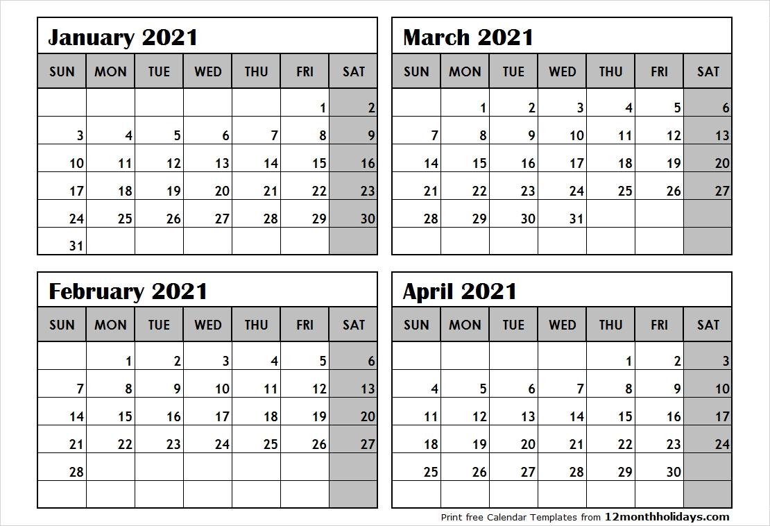 Collect 4 Month Printable Calendar 2021