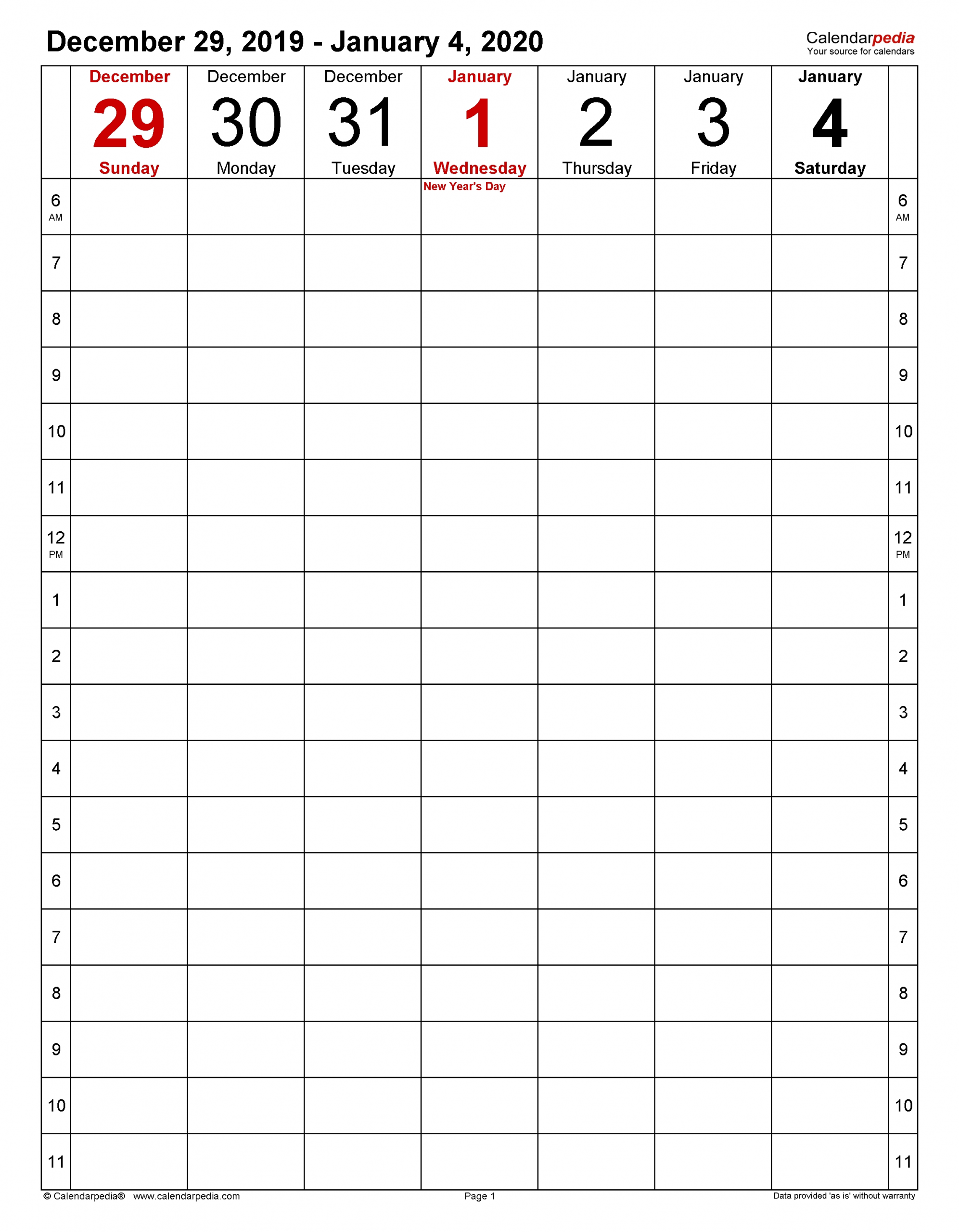 Collect 5 Day Calendar For Microsoft Word