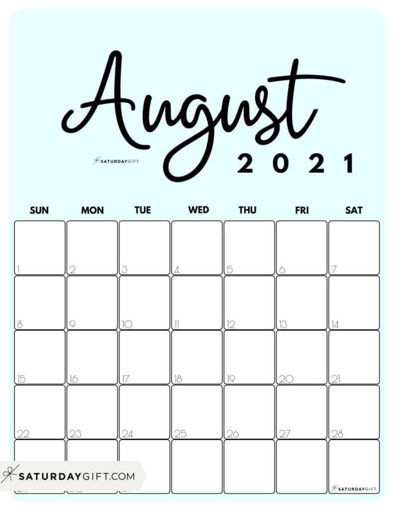 Collect 8X11 August 2021 Calendar