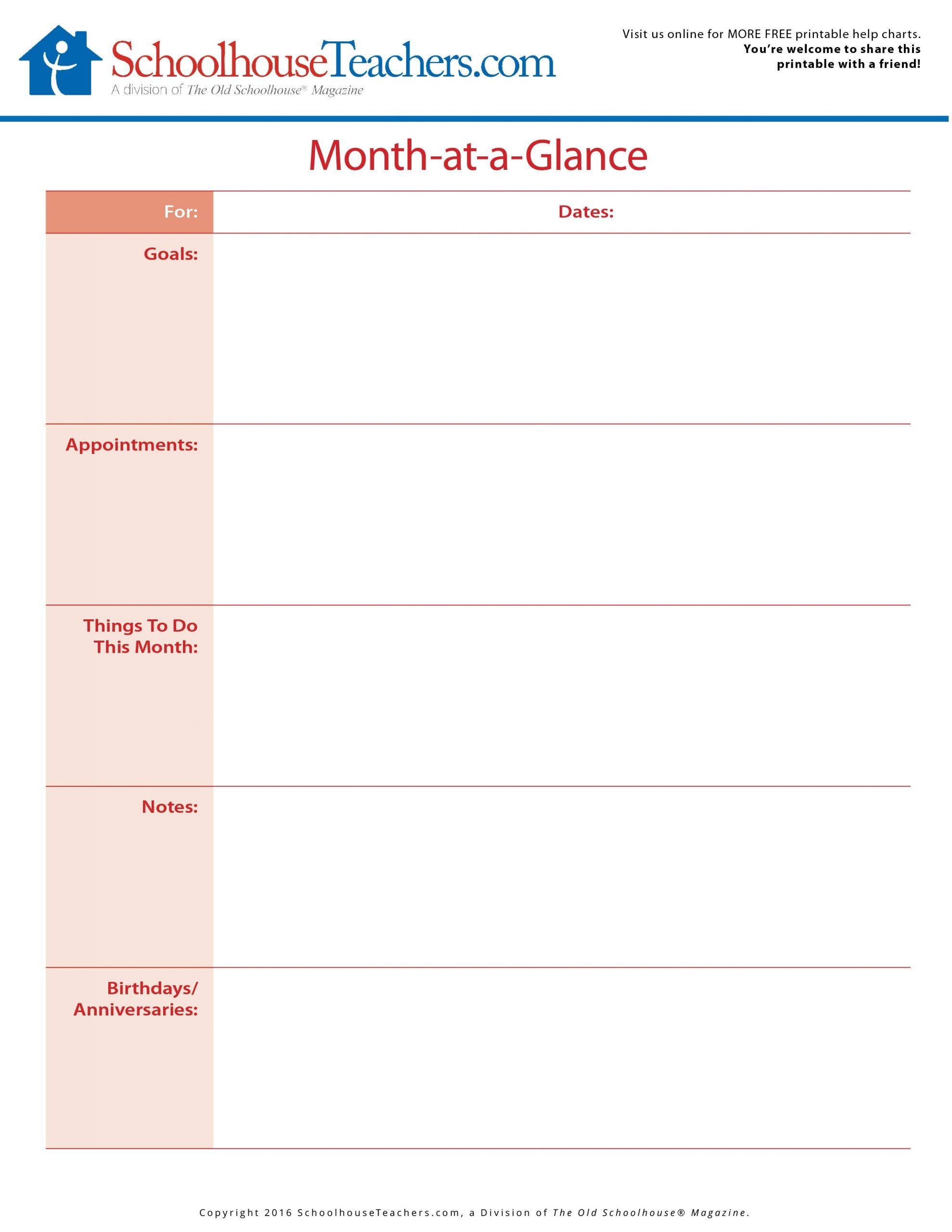 Collect A Month At A Glance