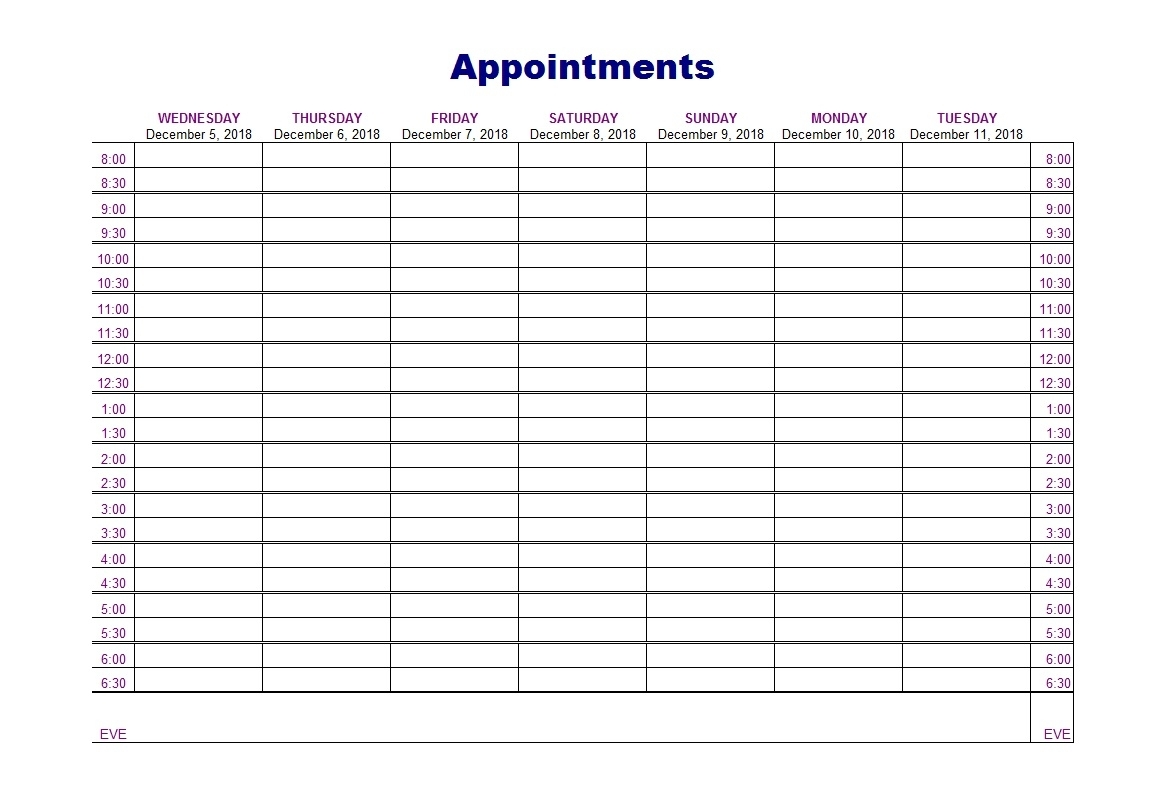 Collect Appointment Templates 15 Min Printable