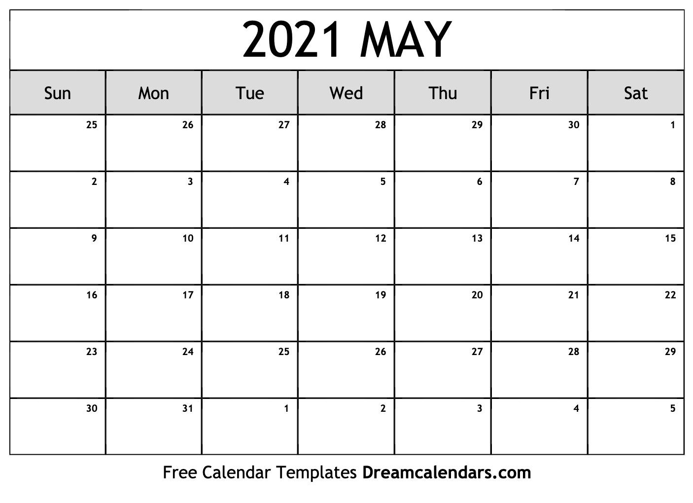 Collect April And May 2021 Calendar Printable